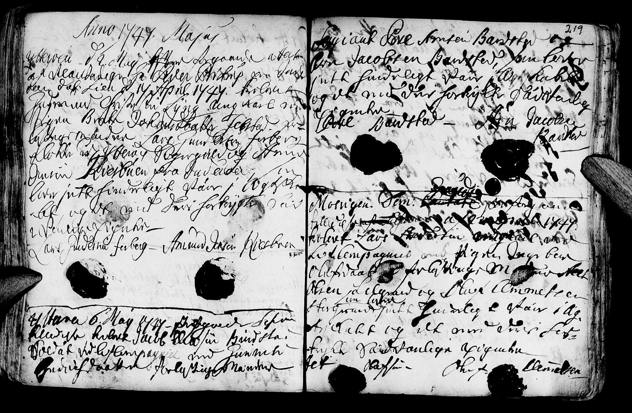 SAT, Ministerialprotokoller, klokkerbøker og fødselsregistre - Nord-Trøndelag, 722/L0215: Ministerialbok nr. 722A02, 1718-1755, s. 219