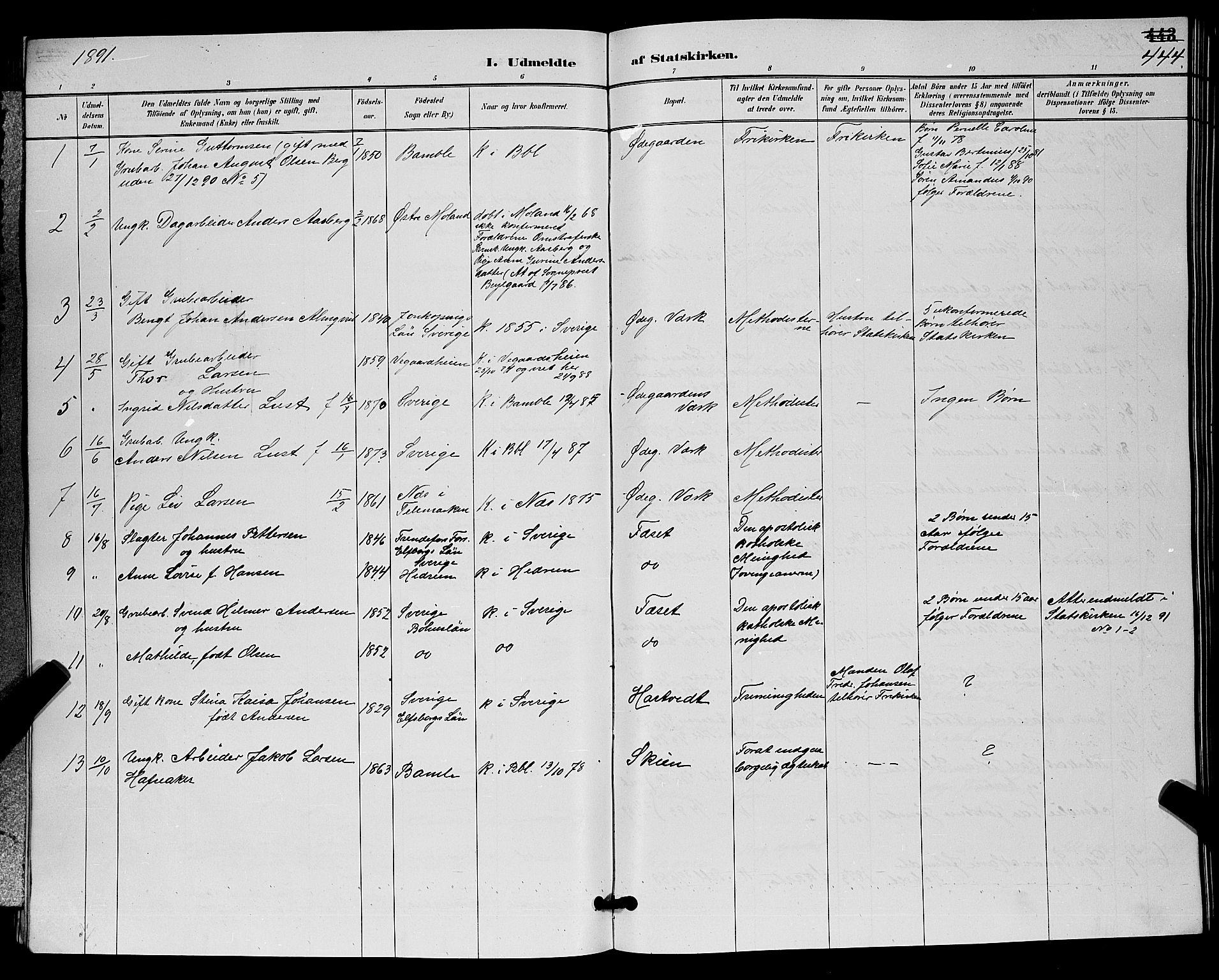 SAKO, Bamble kirkebøker, G/Ga/L0009: Klokkerbok nr. I 9, 1888-1900, s. 444