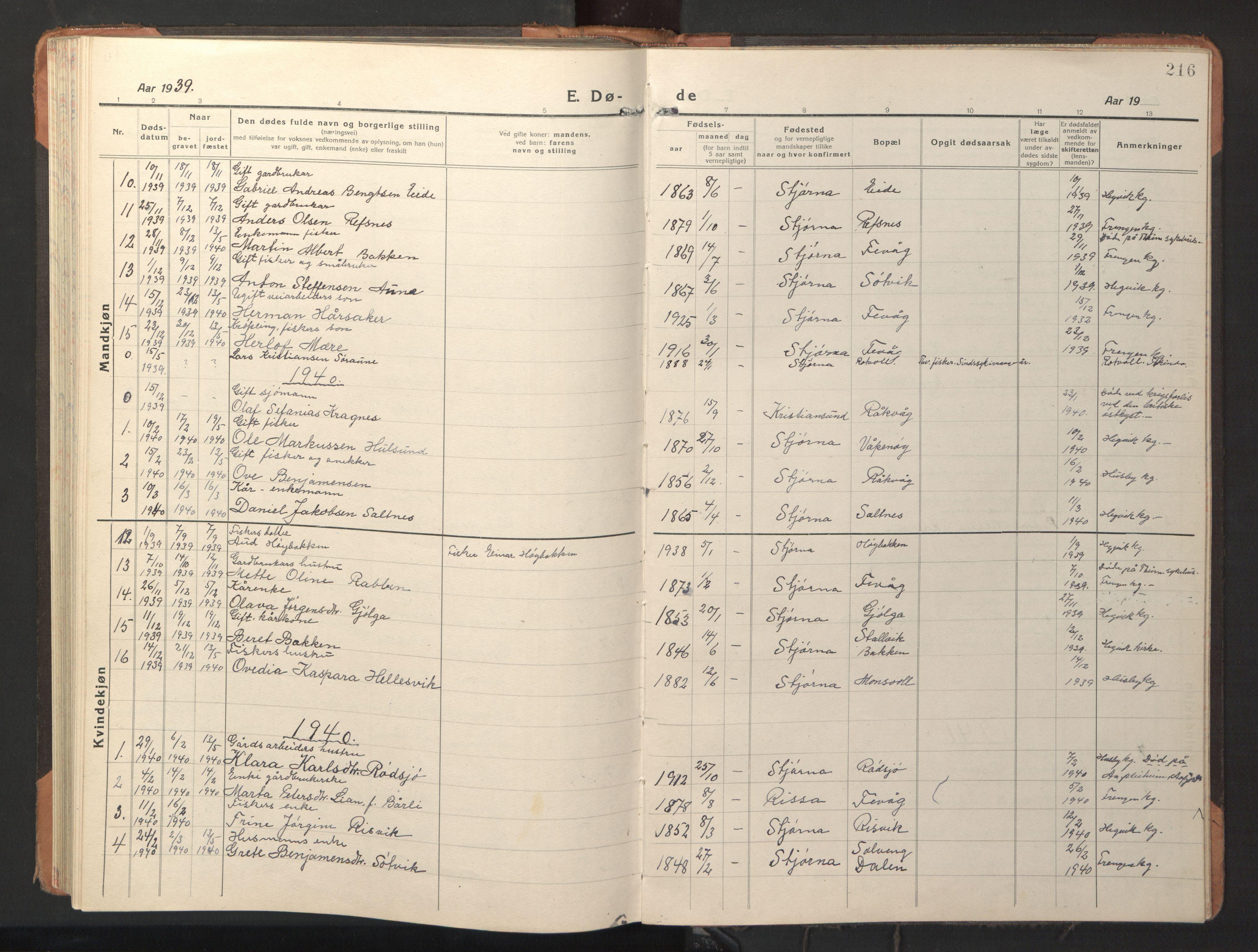 SAT, Ministerialprotokoller, klokkerbøker og fødselsregistre - Sør-Trøndelag, 653/L0658: Klokkerbok nr. 653C02, 1919-1947, s. 216