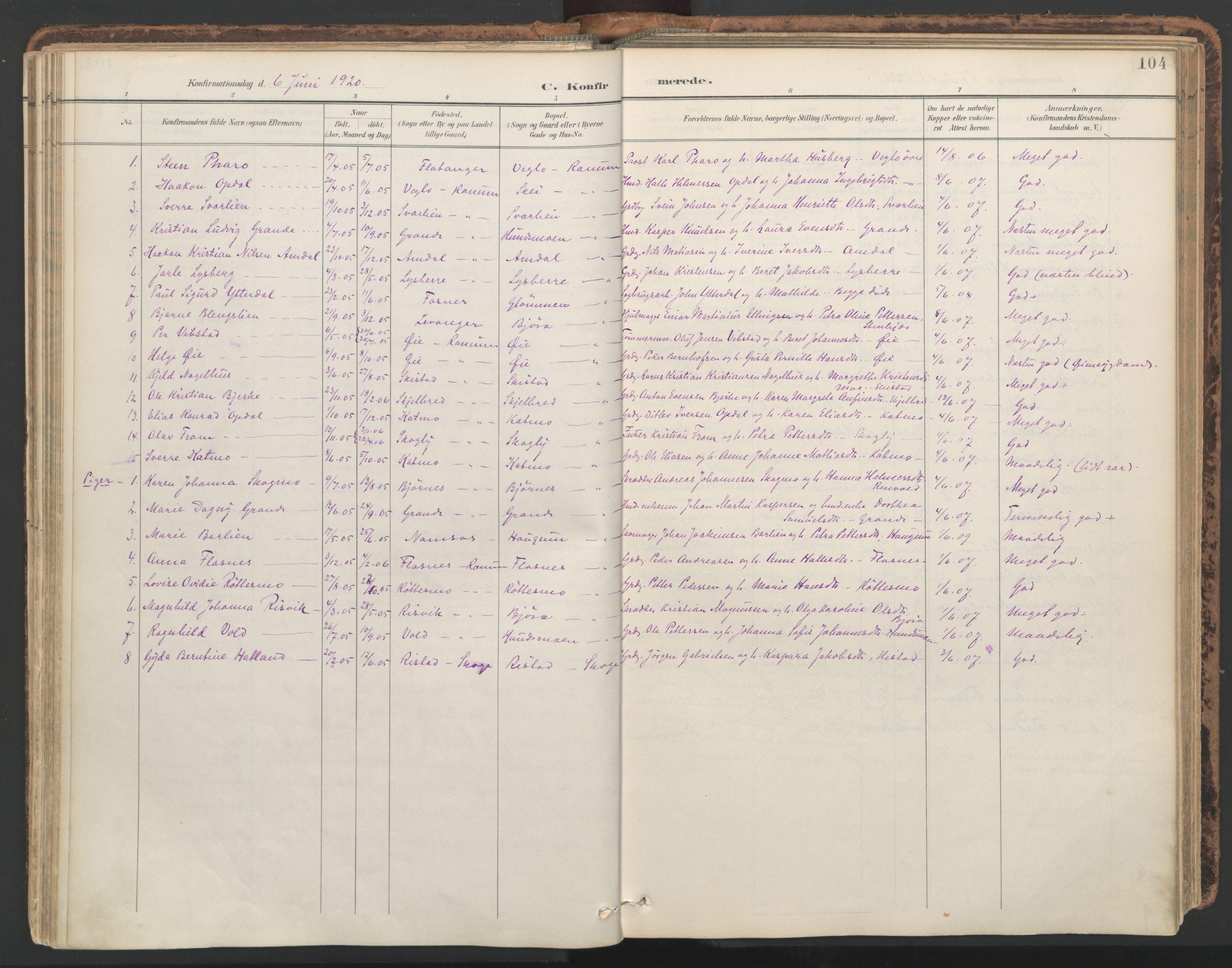 SAT, Ministerialprotokoller, klokkerbøker og fødselsregistre - Nord-Trøndelag, 764/L0556: Ministerialbok nr. 764A11, 1897-1924, s. 104