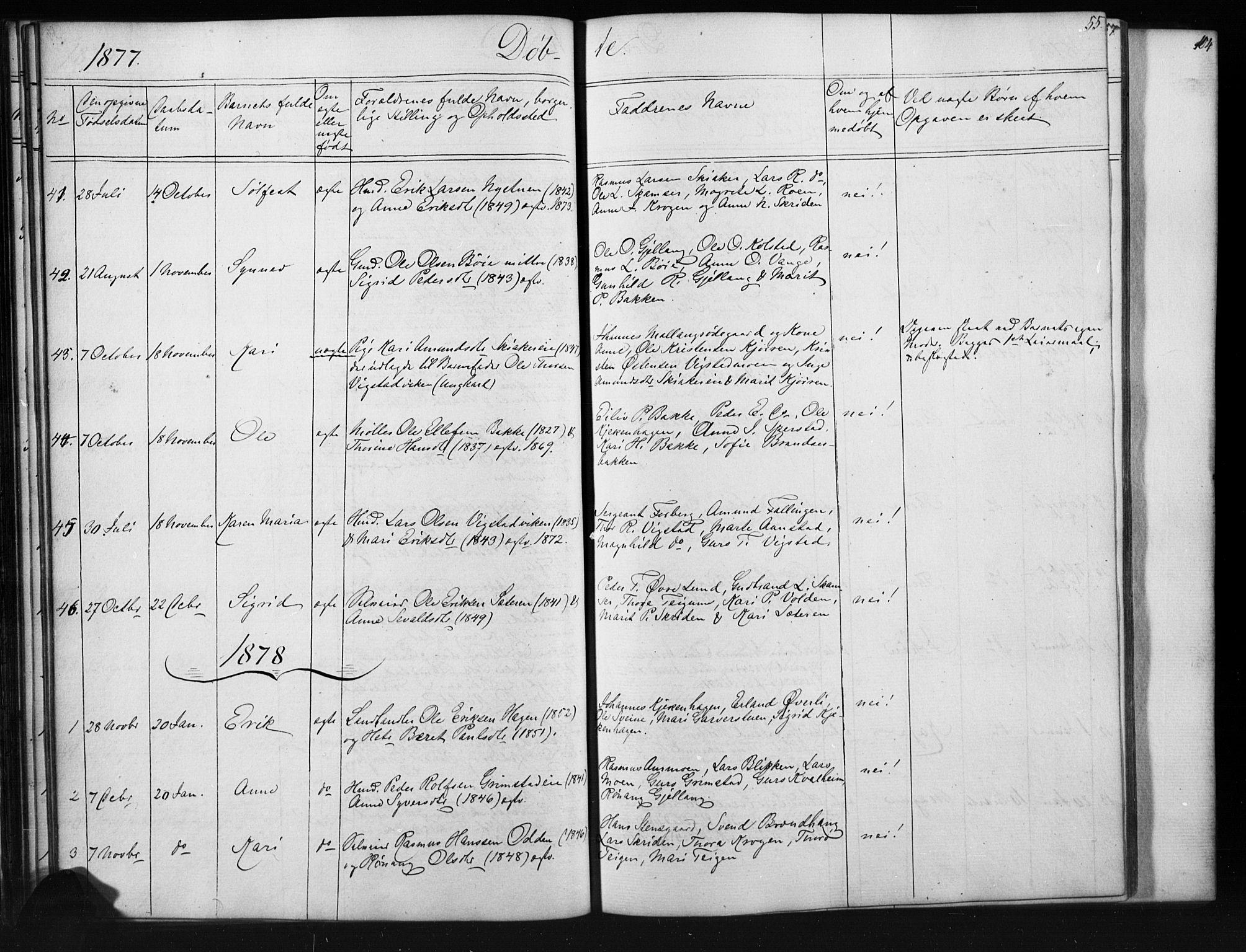 SAH, Skjåk prestekontor, Klokkerbok nr. 1, 1865-1893, s. 55