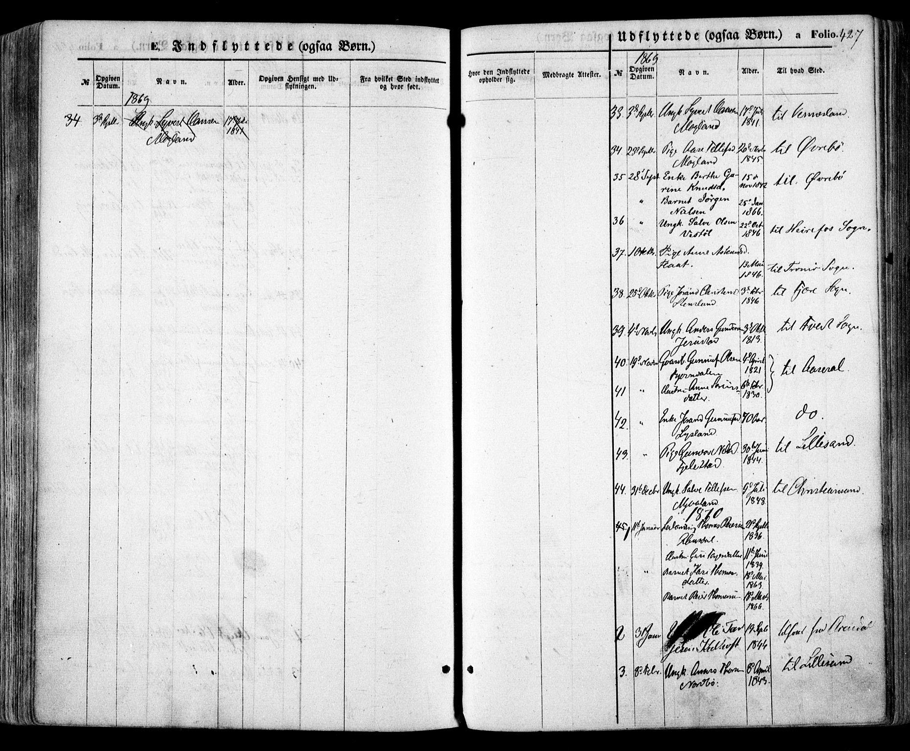 SAK, Evje sokneprestkontor, F/Fa/Faa/L0006: Ministerialbok nr. A 6, 1866-1884, s. 427