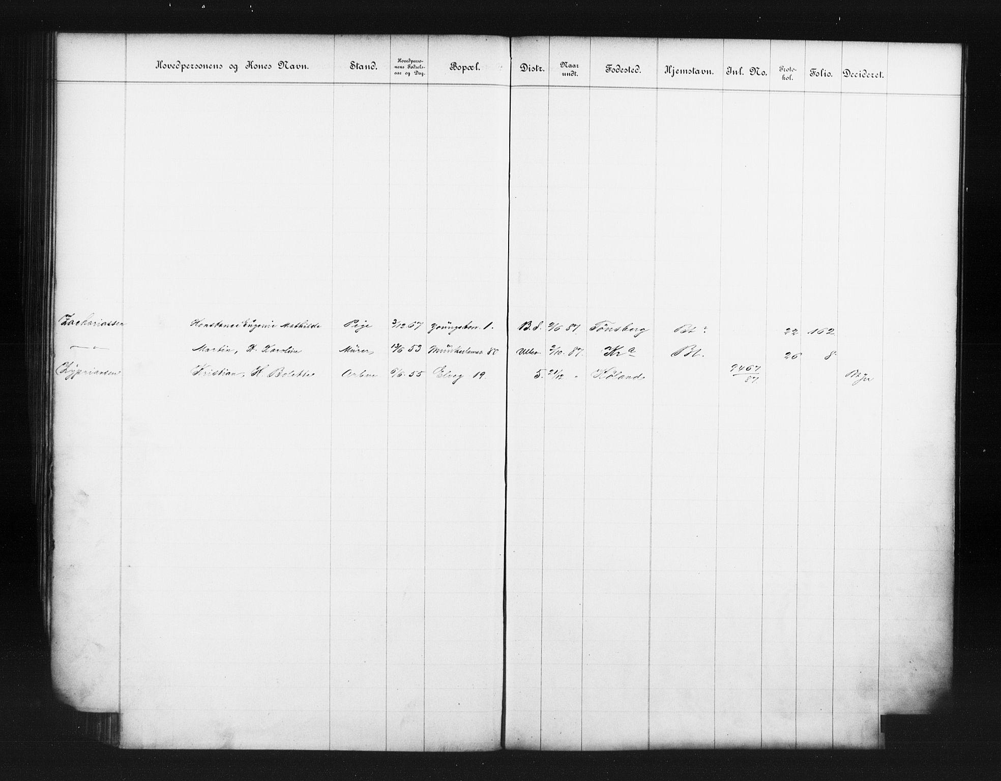 OBA, Fattigvesenet, Fb/L0007: Hjemstavnsregister, 1887, s. 197