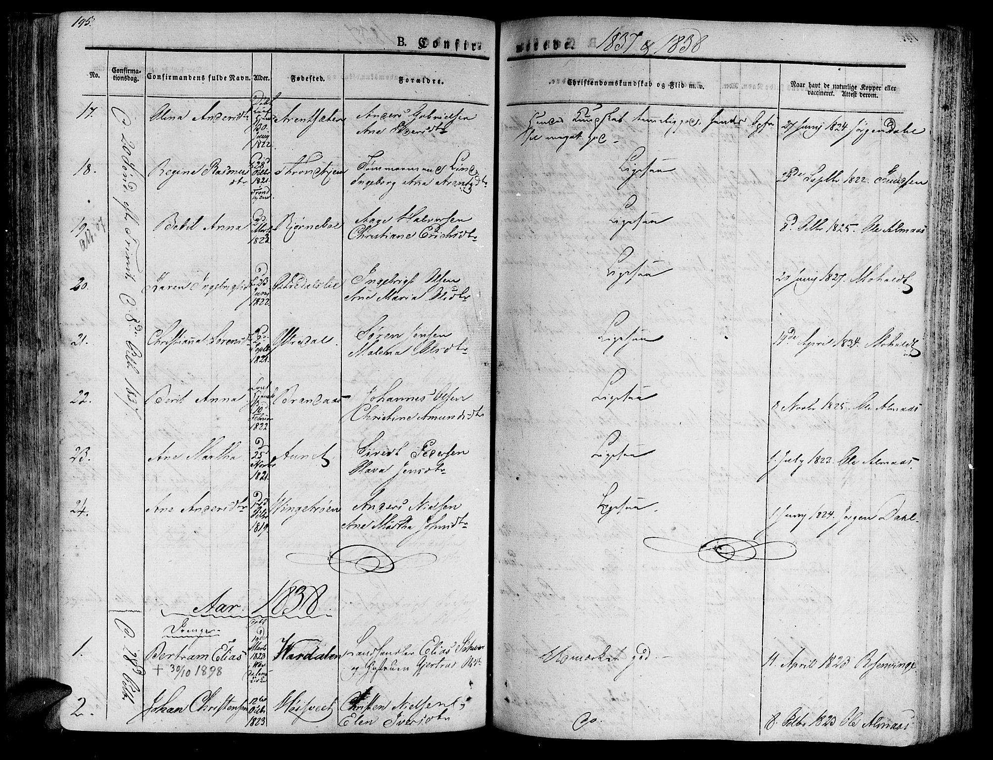 SAT, Ministerialprotokoller, klokkerbøker og fødselsregistre - Nord-Trøndelag, 701/L0006: Ministerialbok nr. 701A06, 1825-1841, s. 195