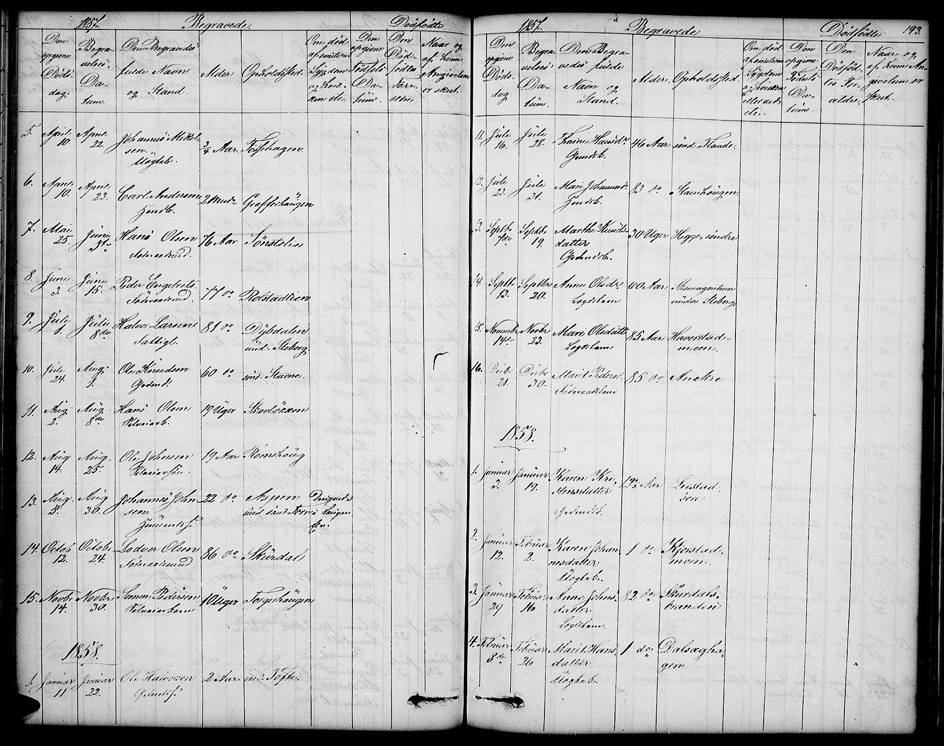 SAH, Sør-Fron prestekontor, H/Ha/Hab/L0001: Klokkerbok nr. 1, 1844-1863, s. 193
