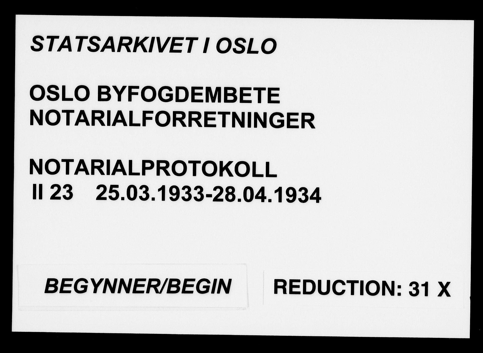 SAO, Oslo byfogd avd. I, L/Lb/Lbb/L0023: Notarialprotokoll, rekke II: Vigsler, 1933-1934, s. upaginert