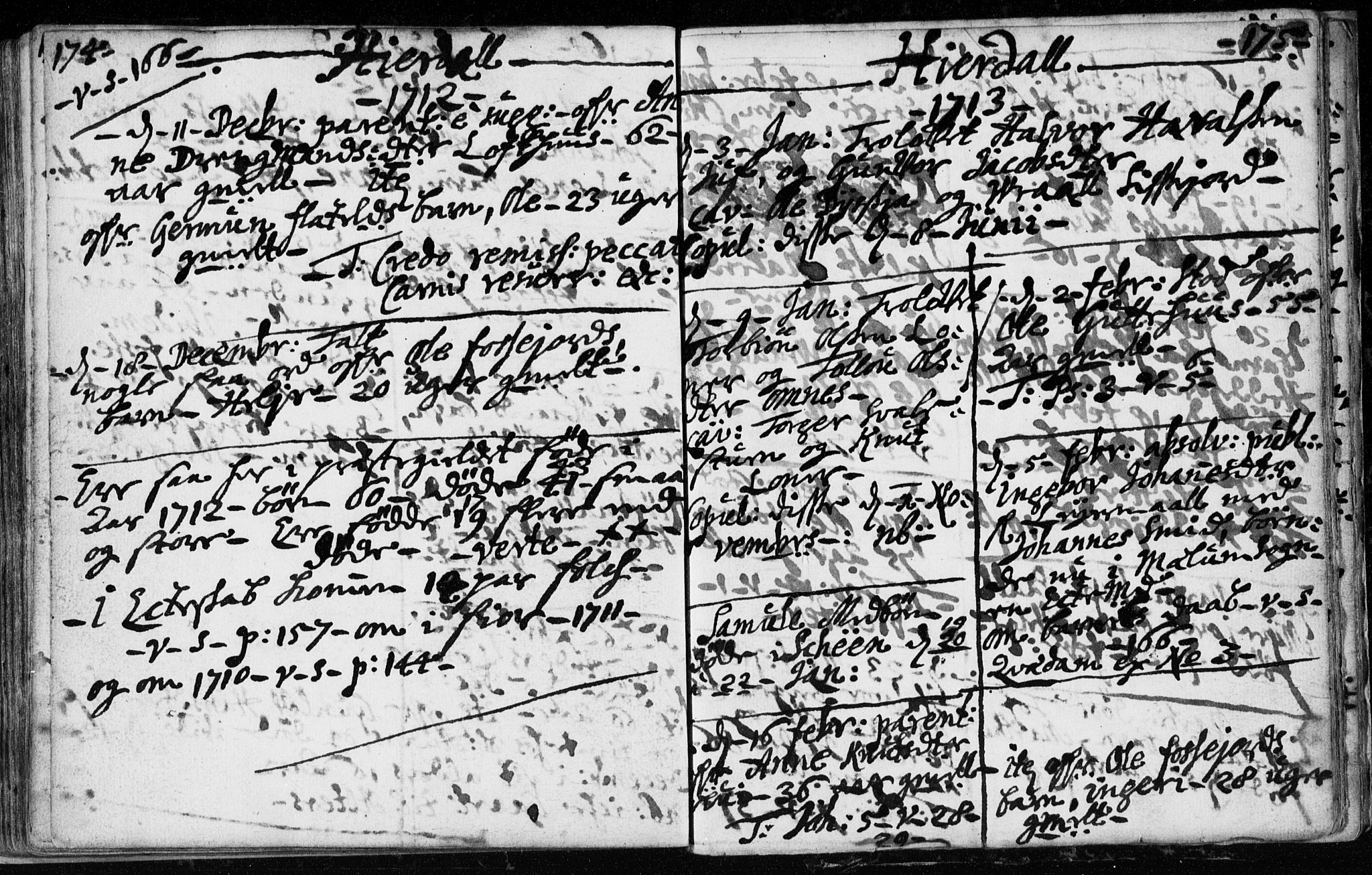 SAKO, Hjartdal kirkebøker, F/Fa/L0001: Ministerialbok nr. I 1, 1685-1714, s. 174-175