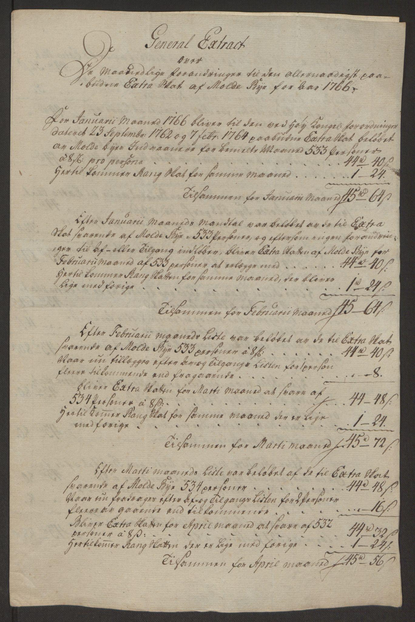 RA, Rentekammeret inntil 1814, Reviderte regnskaper, Byregnskaper, R/Rq/L0487: [Q1] Kontribusjonsregnskap, 1762-1772, s. 132
