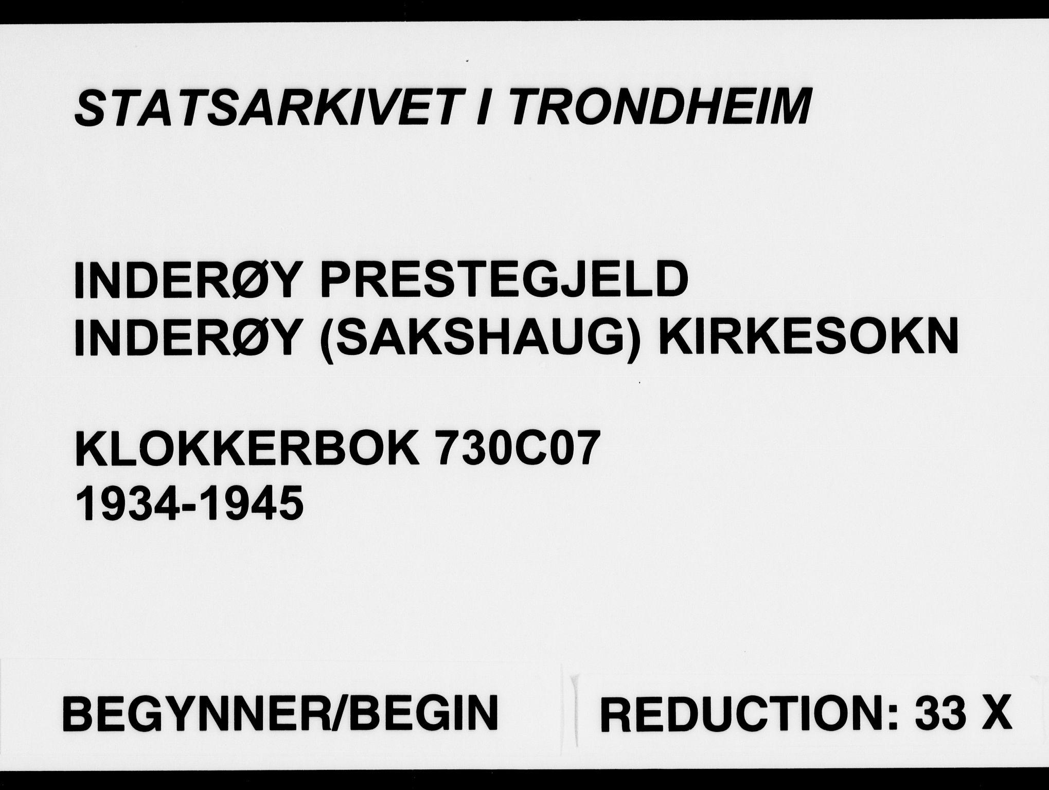 SAT, Ministerialprotokoller, klokkerbøker og fødselsregistre - Nord-Trøndelag, 730/L0304: Klokkerbok nr. 730C07, 1934-1945