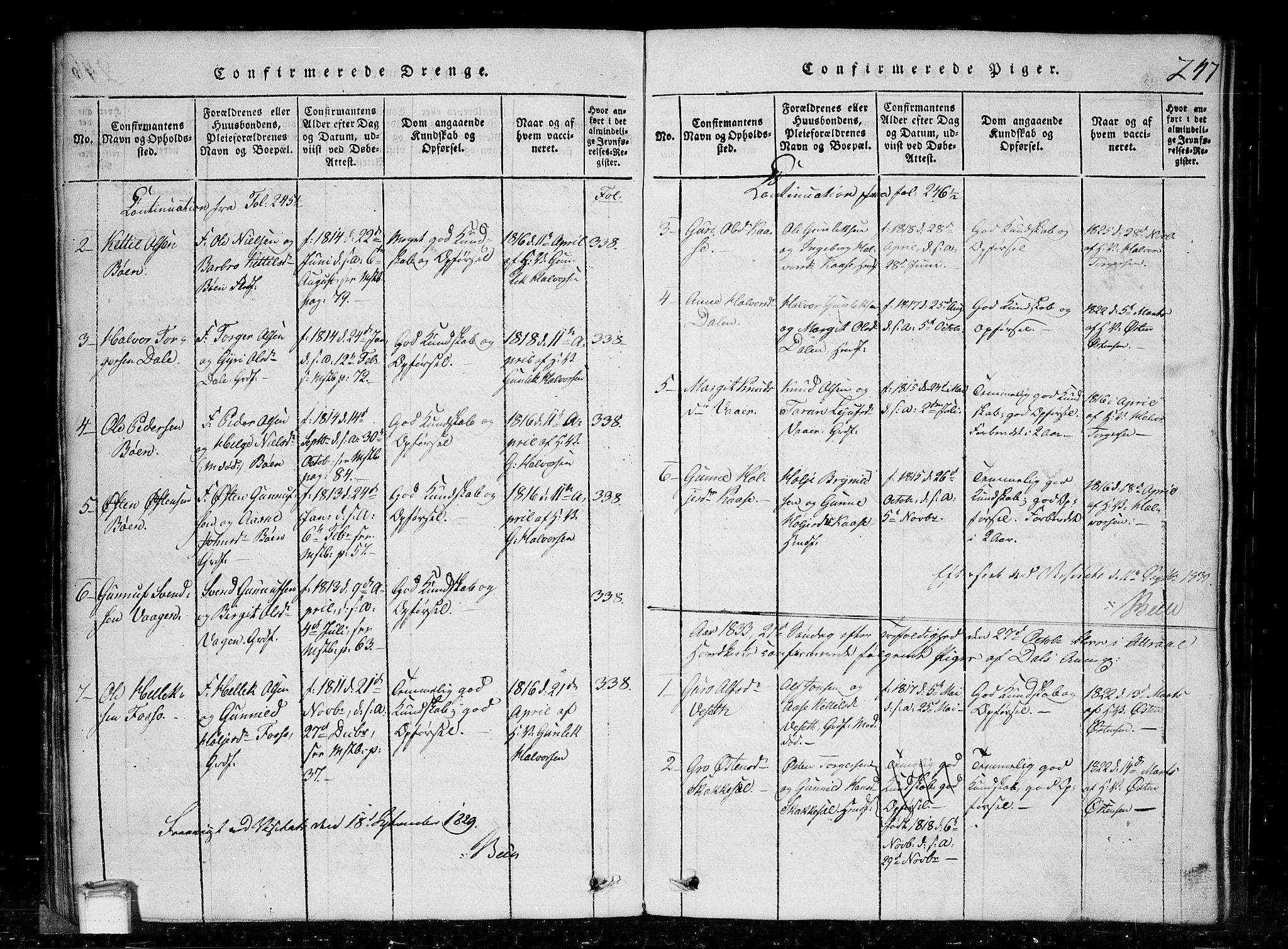 SAKO, Tinn kirkebøker, G/Gc/L0001: Klokkerbok nr. III 1, 1815-1879, s. 247