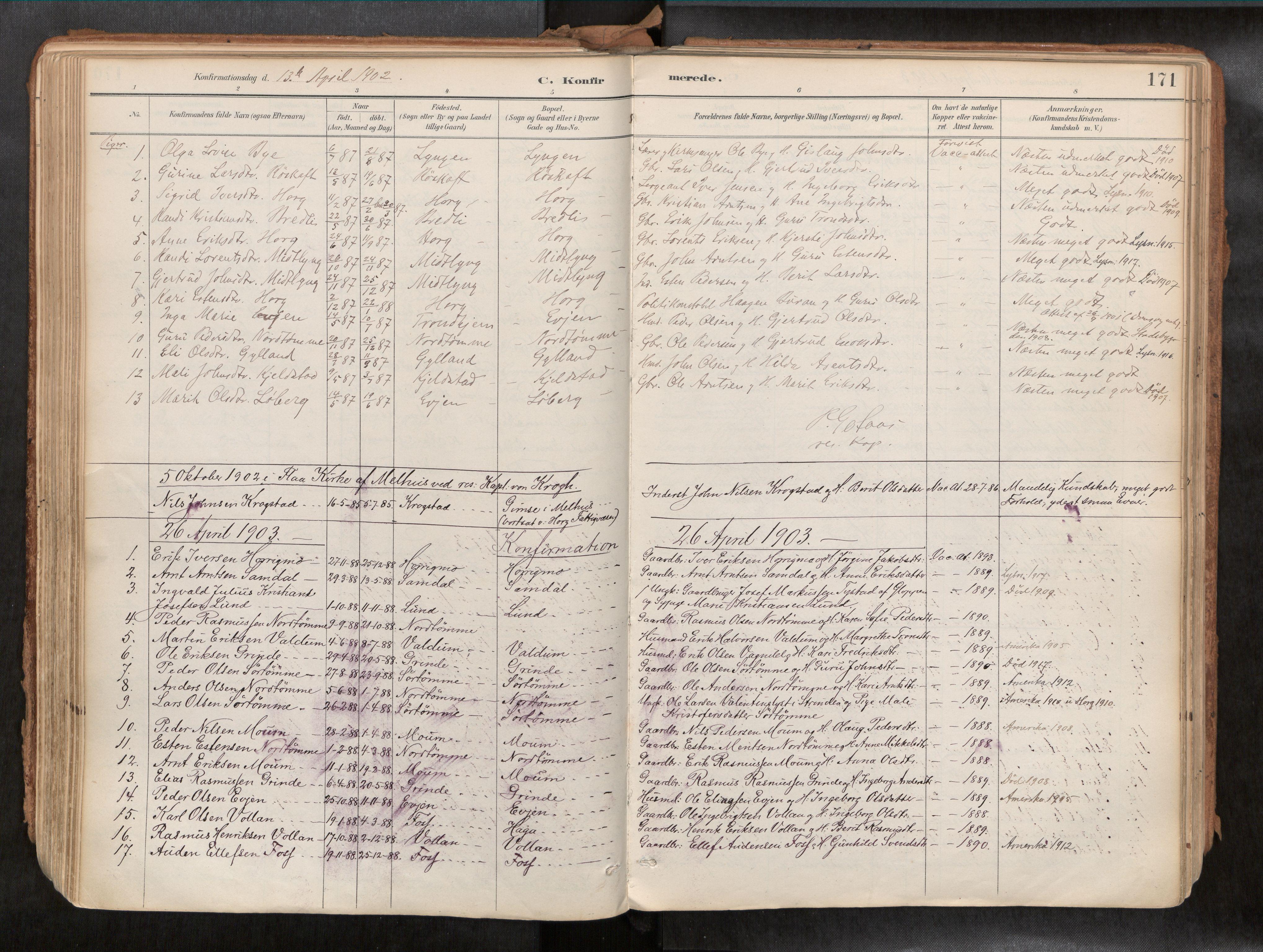 SAT, Ministerialprotokoller, klokkerbøker og fødselsregistre - Sør-Trøndelag, 692/L1105b: Ministerialbok nr. 692A06, 1891-1934, s. 171