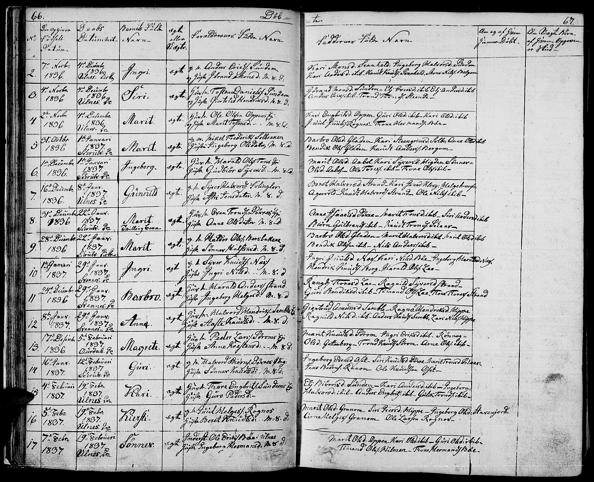 SAH, Nord-Aurdal prestekontor, Klokkerbok nr. 1, 1834-1887, s. 66-67