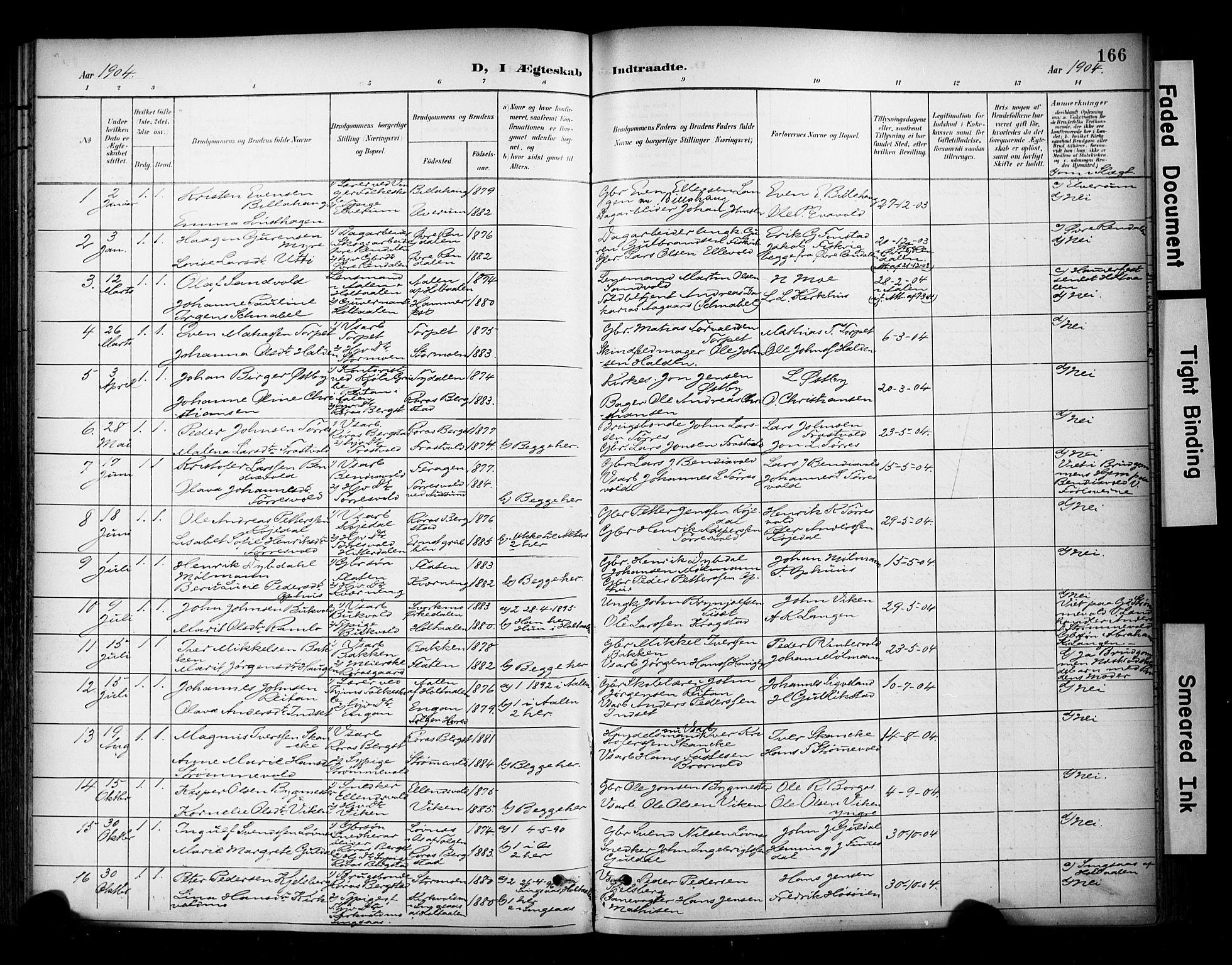 SAT, Ministerialprotokoller, klokkerbøker og fødselsregistre - Sør-Trøndelag, 681/L0936: Ministerialbok nr. 681A14, 1899-1908, s. 166