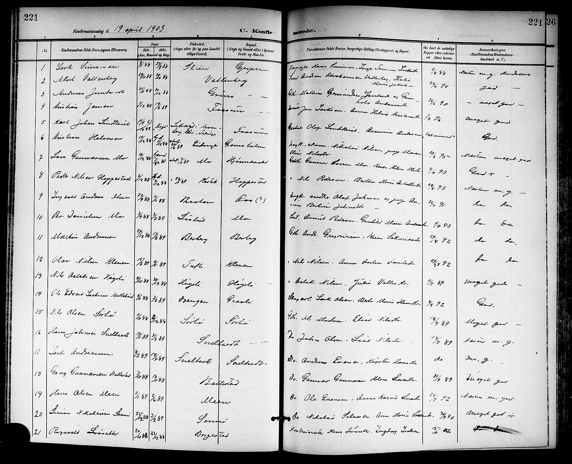 SAKO, Gjerpen kirkebøker, G/Ga/L0003: Klokkerbok nr. I 3, 1901-1919, s. 221
