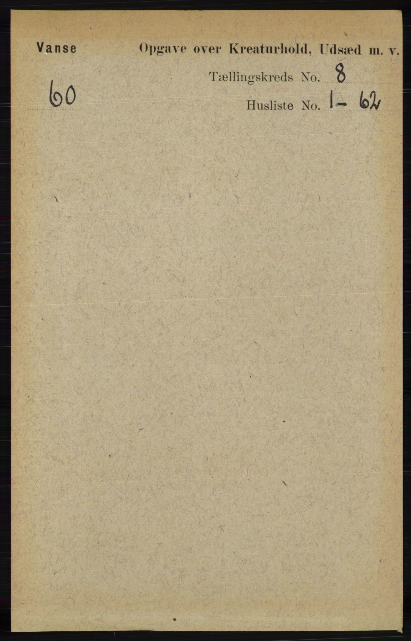 RA, Folketelling 1891 for 1041 Vanse herred, 1891, s. 9457