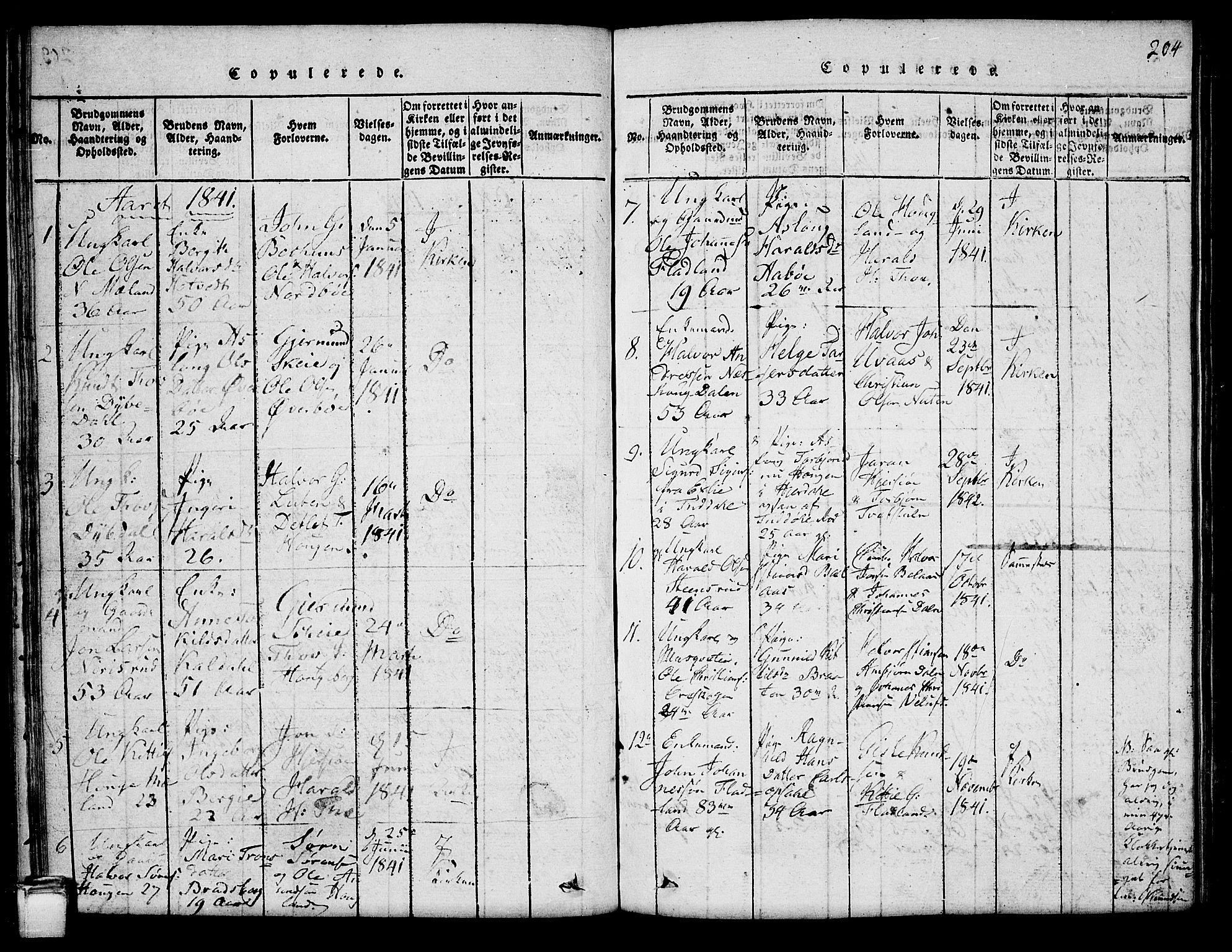 SAKO, Hjartdal kirkebøker, G/Ga/L0001: Klokkerbok nr. I 1, 1815-1842, s. 204