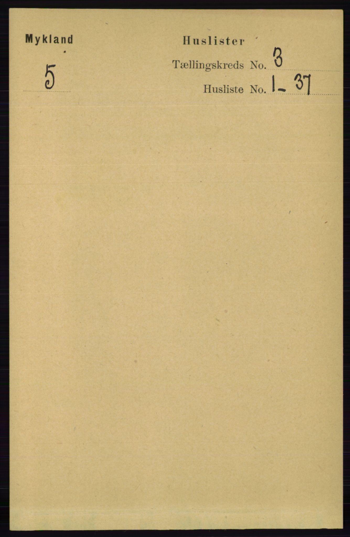 RA, Folketelling 1891 for 0932 Mykland herred, 1891, s. 525