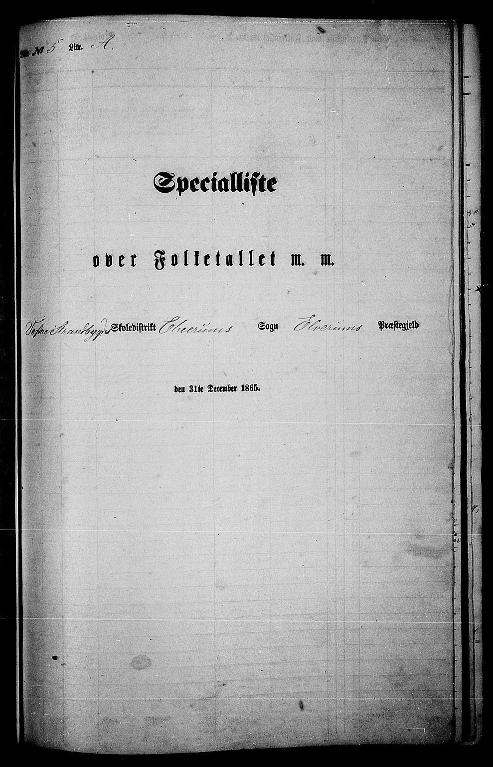 RA, Folketelling 1865 for 0427P Elverum prestegjeld, 1865, s. 117
