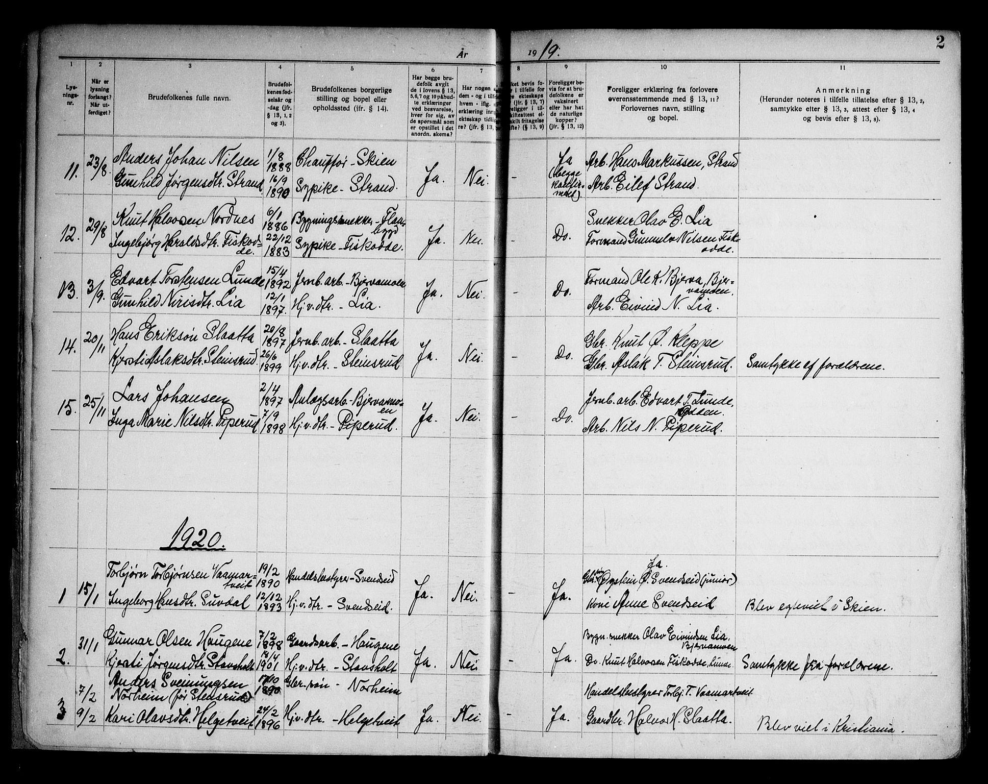 SAKO, Lunde kirkebøker, H/Ha/L0001: Lysningsprotokoll nr. 1, 1919-1966, s. 2