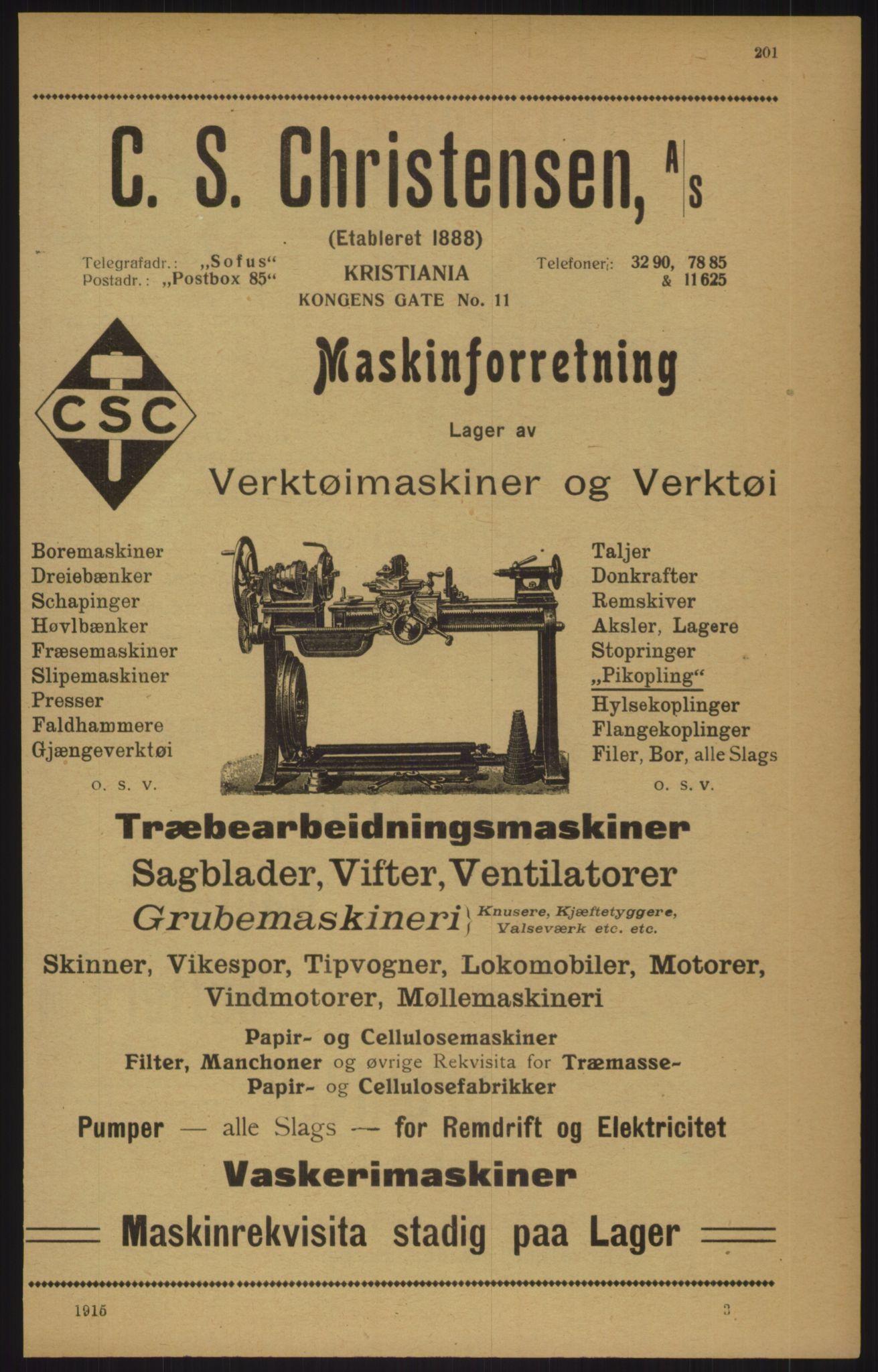 RA, Kristiania adressebok (publikasjon)*, 1915, s. 201