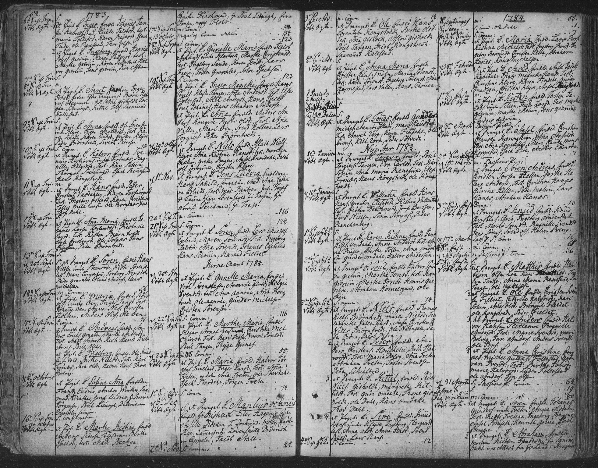 SAKO, Solum kirkebøker, F/Fa/L0003: Ministerialbok nr. I 3, 1761-1814, s. 54-55