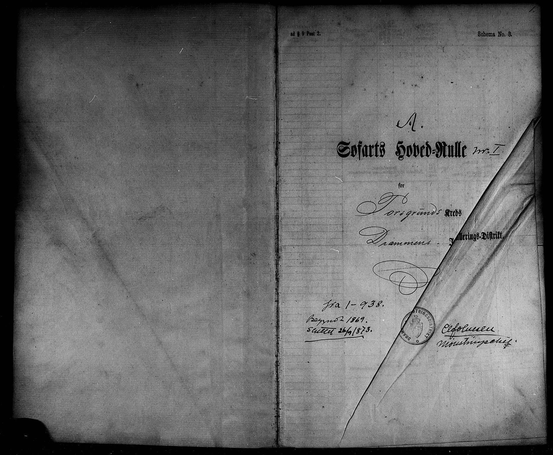 SAKO, Porsgrunn innrulleringskontor, F/Fc/L0004: Hovedrulle, 1869-1873, s. 2