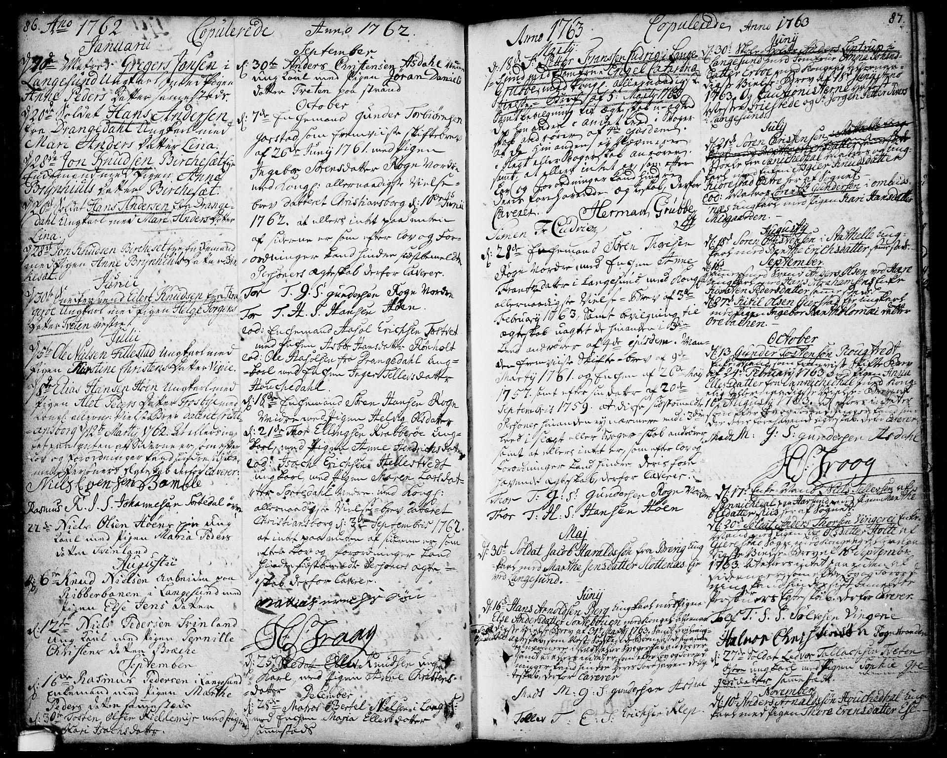 SAKO, Bamble kirkebøker, F/Fa/L0001: Ministerialbok nr. I 1, 1702-1774, s. 86-87