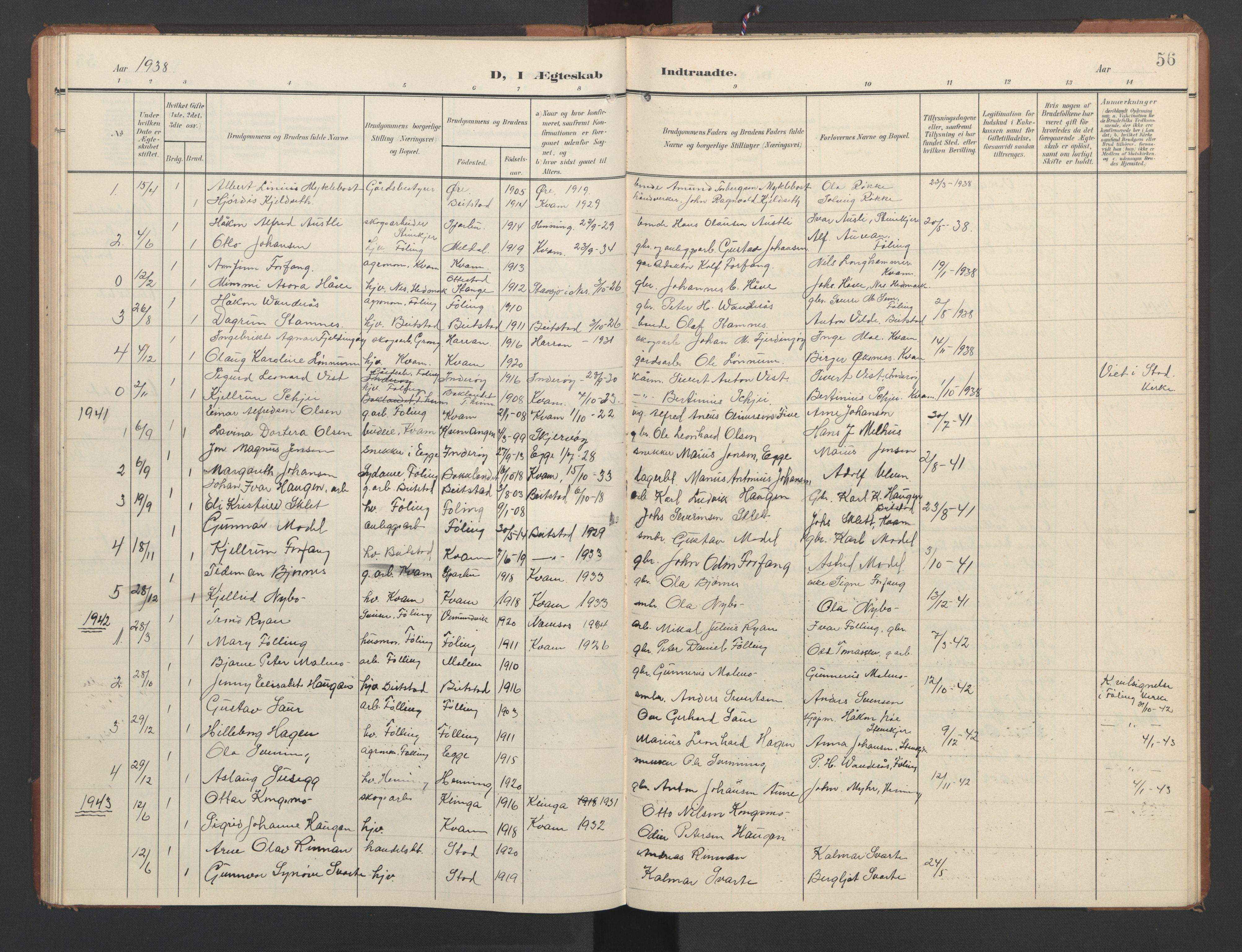 SAT, Ministerialprotokoller, klokkerbøker og fødselsregistre - Nord-Trøndelag, 748/L0465: Klokkerbok nr. 748C01, 1908-1960, s. 56