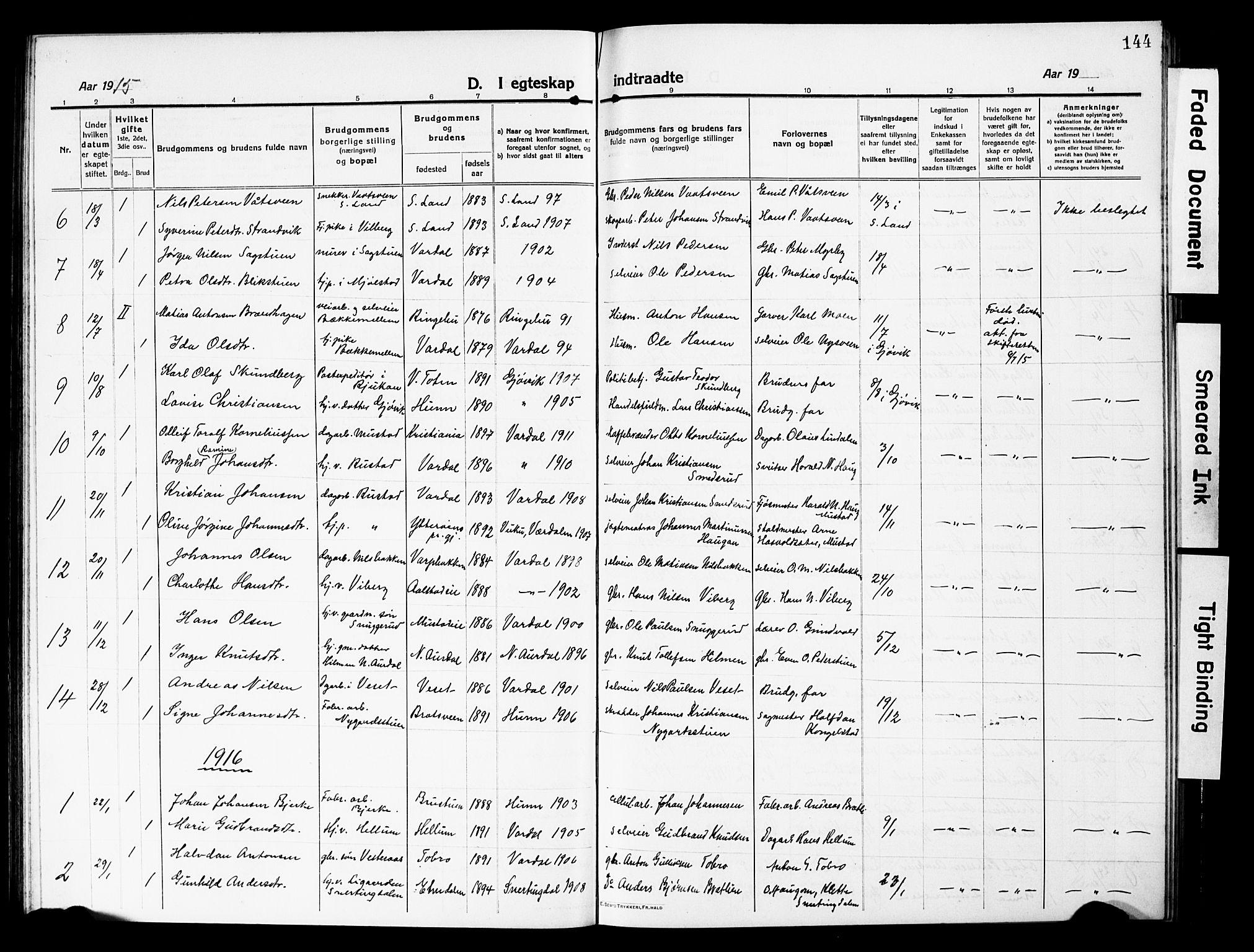 SAH, Vardal prestekontor, H/Ha/Hab/L0015: Klokkerbok nr. 15, 1914-1931, s. 144