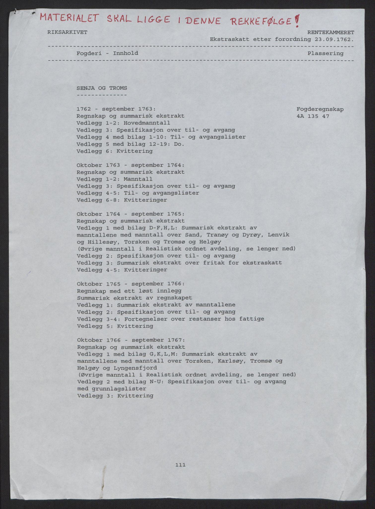 RA, Rentekammeret inntil 1814, Reviderte regnskaper, Fogderegnskap, R68/L4845: Ekstraskatten Senja og Troms, 1762-1765, s. 2
