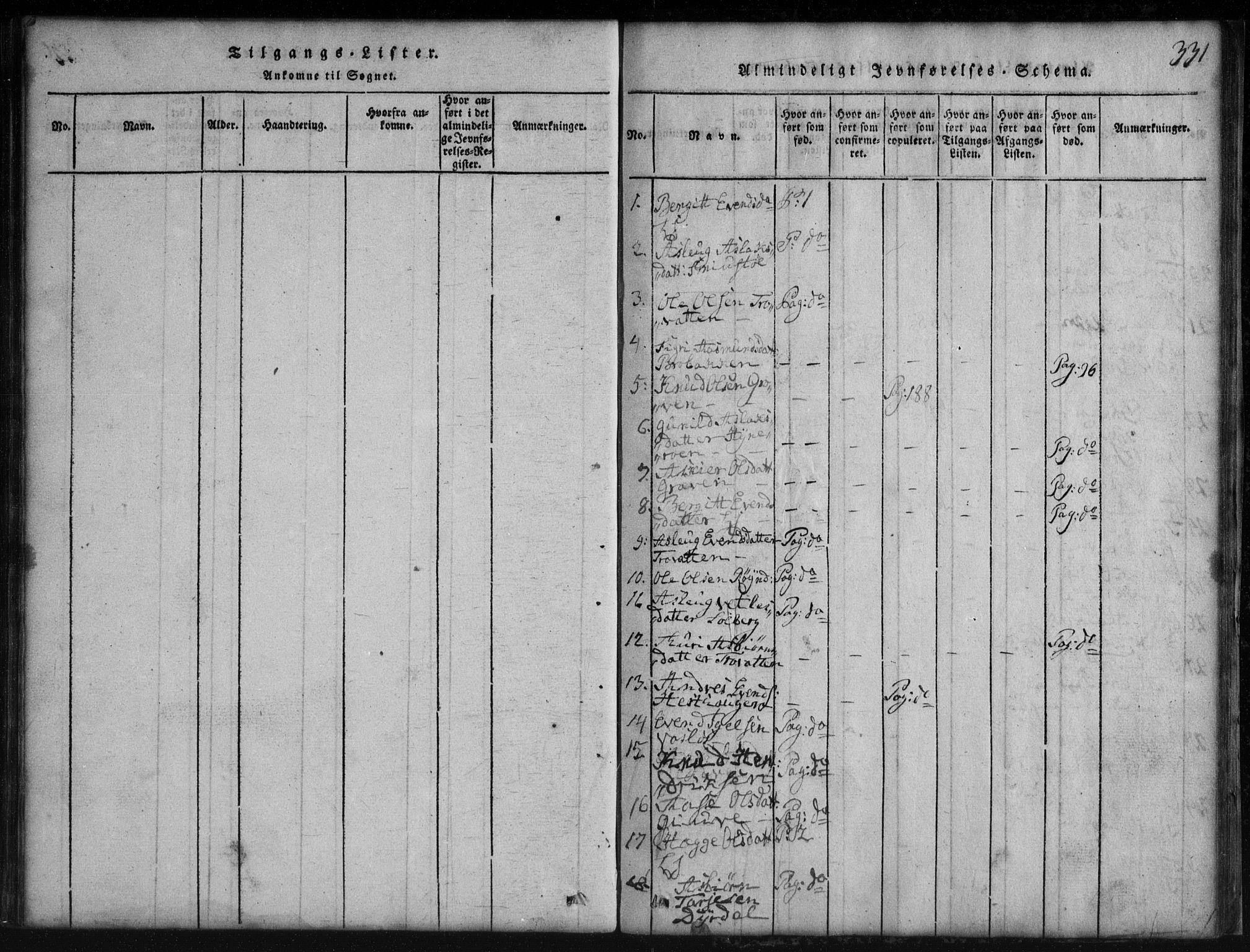 SAKO, Rauland kirkebøker, G/Gb/L0001: Klokkerbok nr. II 1, 1815-1886, s. 331