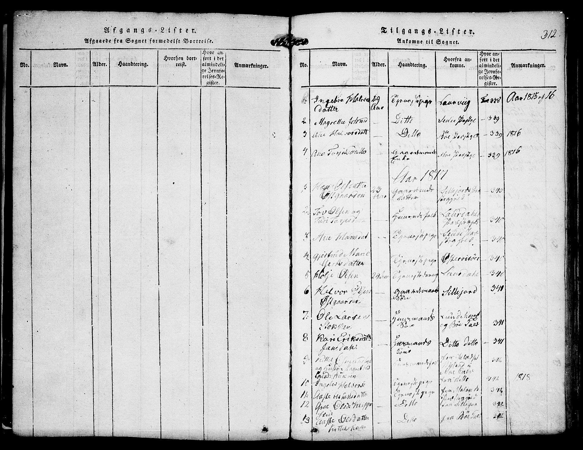 SAKO, Kviteseid kirkebøker, F/Fa/L0005: Ministerialbok nr. I 5, 1815-1836, s. 312