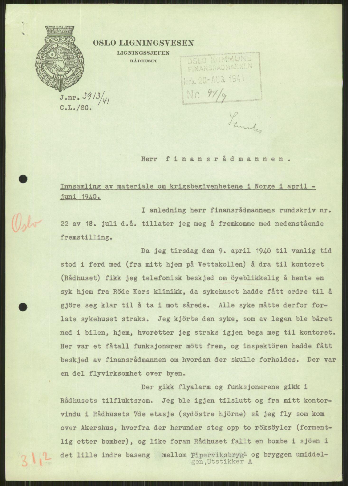 RA, Forsvaret, Forsvarets krigshistoriske avdeling, Y/Ya/L0013: II-C-11-31 - Fylkesmenn.  Rapporter om krigsbegivenhetene 1940., 1940, s. 536