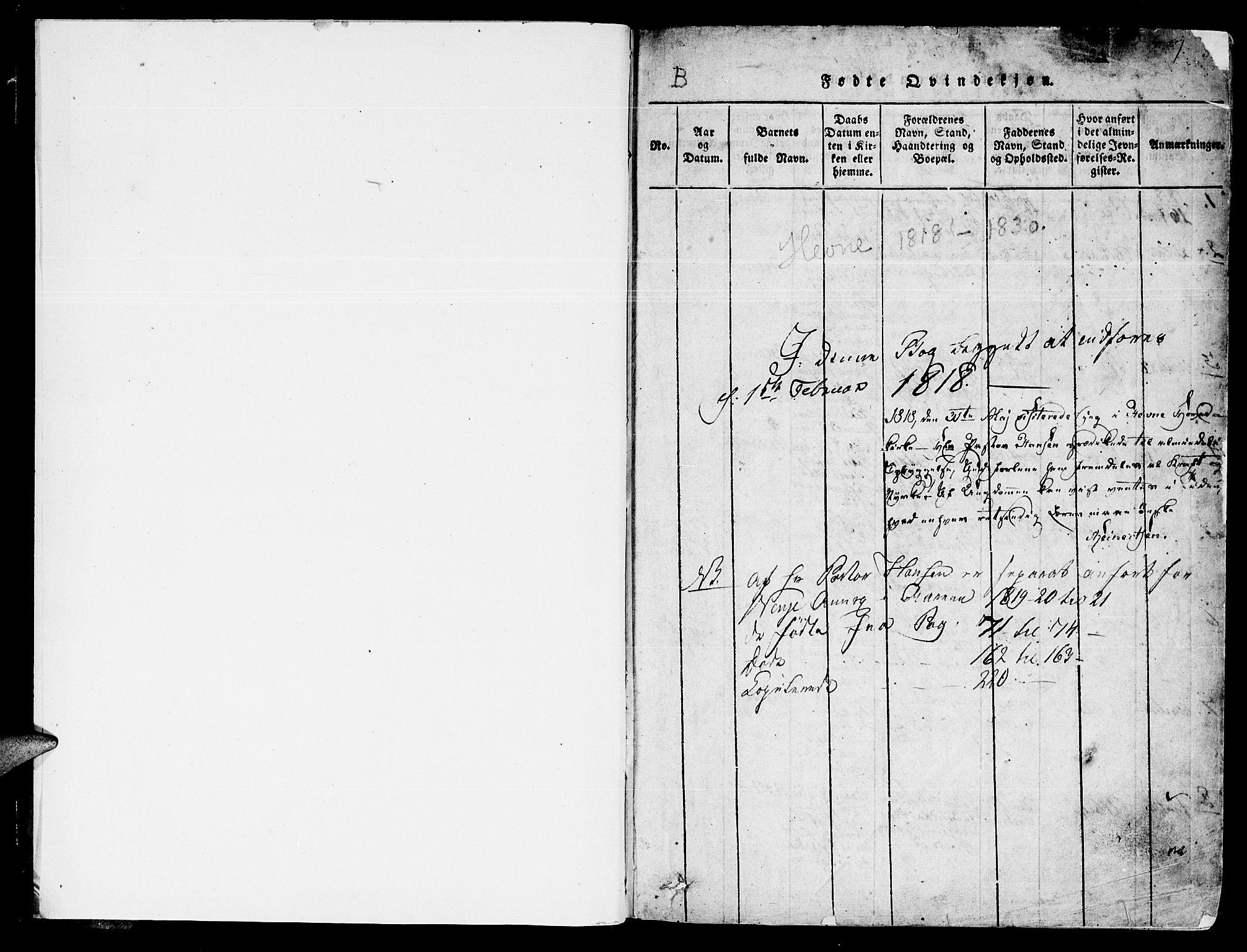 SAT, Ministerialprotokoller, klokkerbøker og fødselsregistre - Sør-Trøndelag, 630/L0491: Ministerialbok nr. 630A04, 1818-1830, s. 1