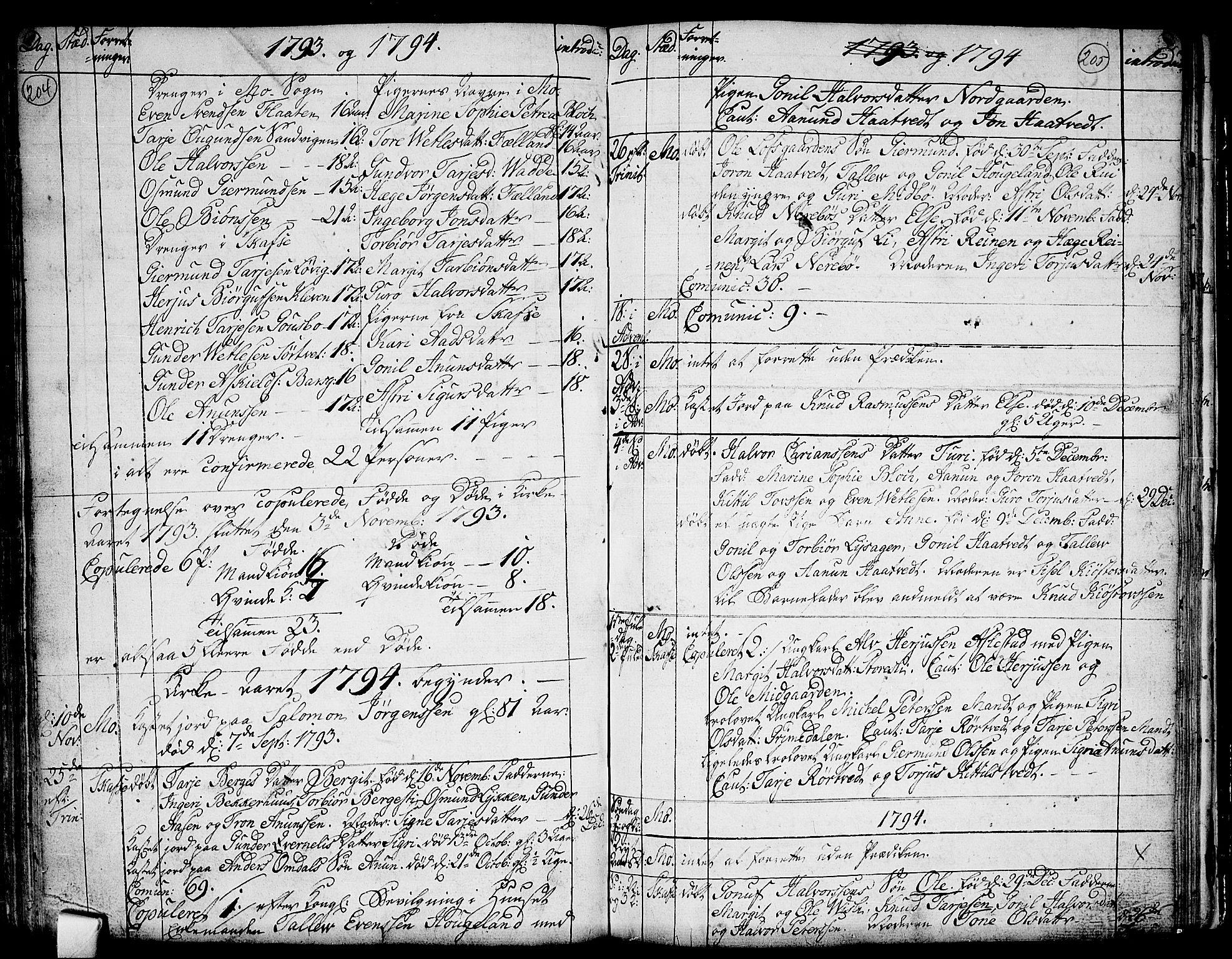 SAKO, Mo kirkebøker, F/Fa/L0002: Ministerialbok nr. I 2, 1766-1799, s. 204-205