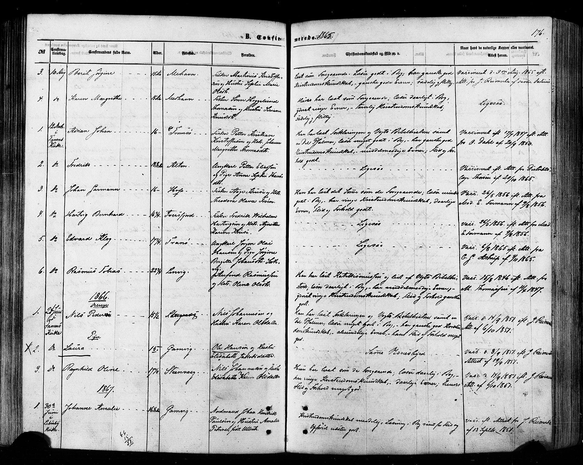 SATØ, Tana sokneprestkontor, H/Ha/L0002kirke: Ministerialbok nr. 2 /2, 1862-1877, s. 176