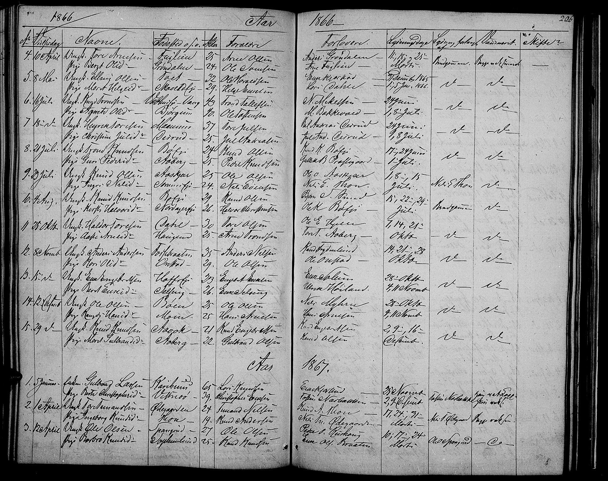 SAH, Nord-Aurdal prestekontor, Klokkerbok nr. 2, 1842-1877, s. 206