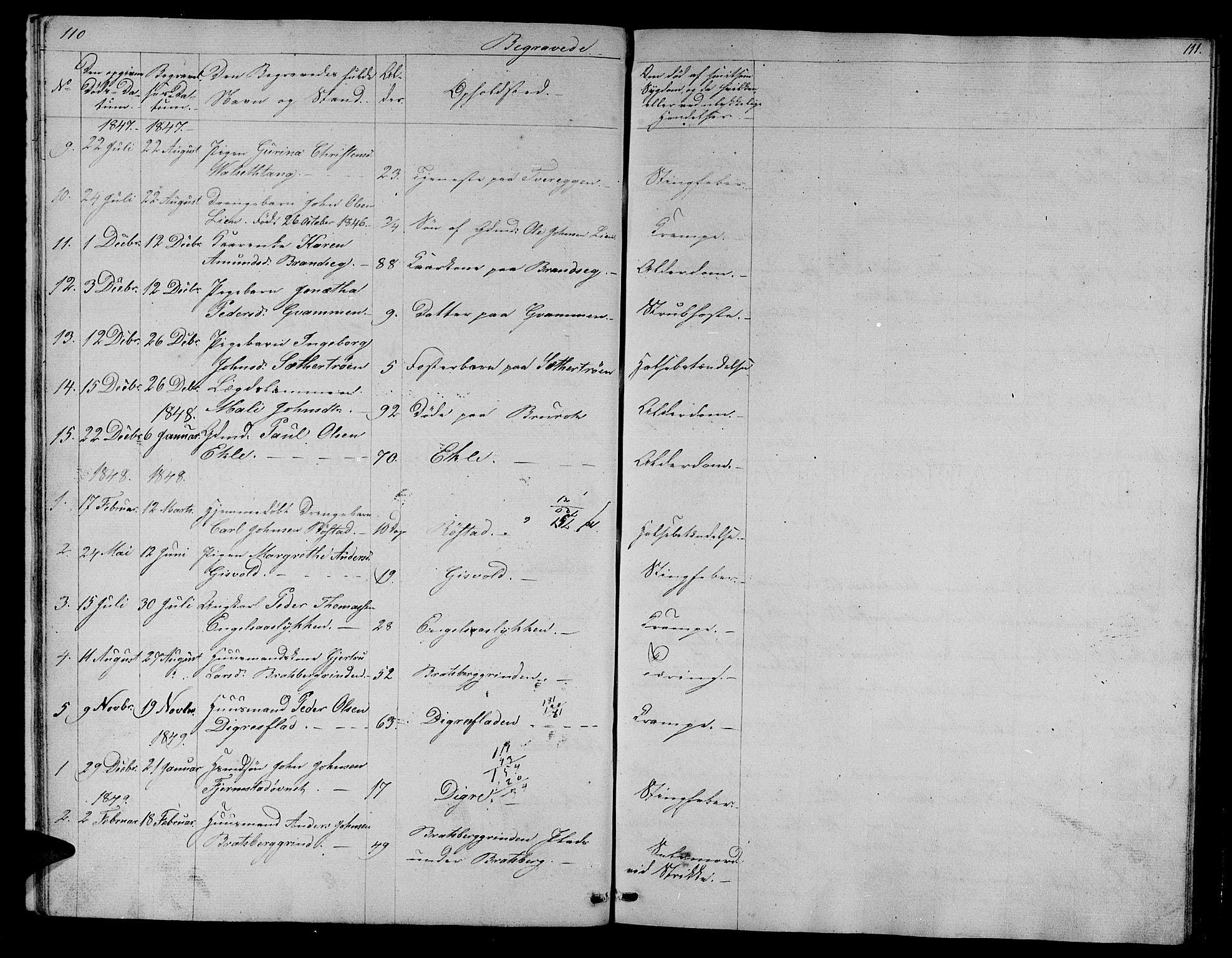 SAT, Ministerialprotokoller, klokkerbøker og fødselsregistre - Sør-Trøndelag, 608/L0339: Klokkerbok nr. 608C05, 1844-1863, s. 110-111