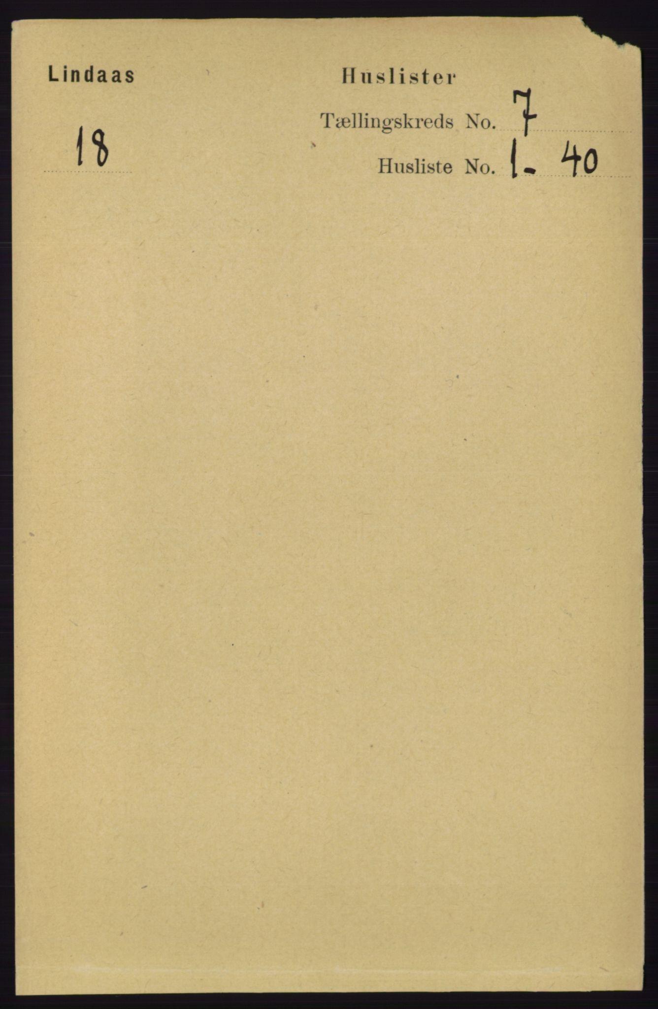 RA, Folketelling 1891 for 1263 Lindås herred, 1891, s. 2034