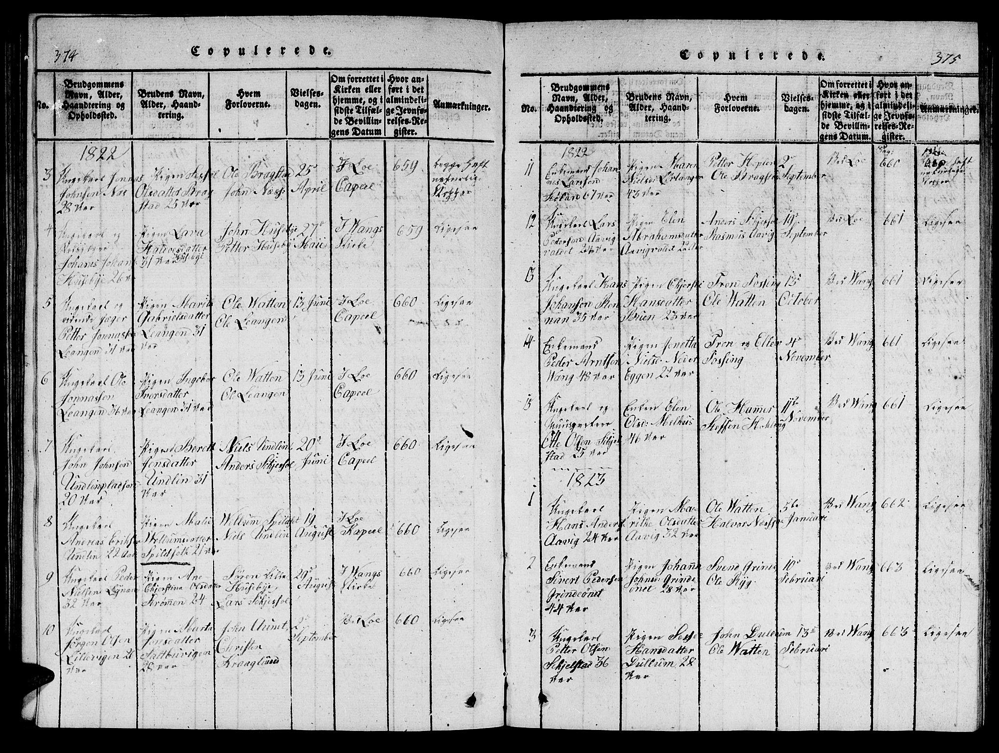 SAT, Ministerialprotokoller, klokkerbøker og fødselsregistre - Nord-Trøndelag, 714/L0132: Klokkerbok nr. 714C01, 1817-1824, s. 374-375