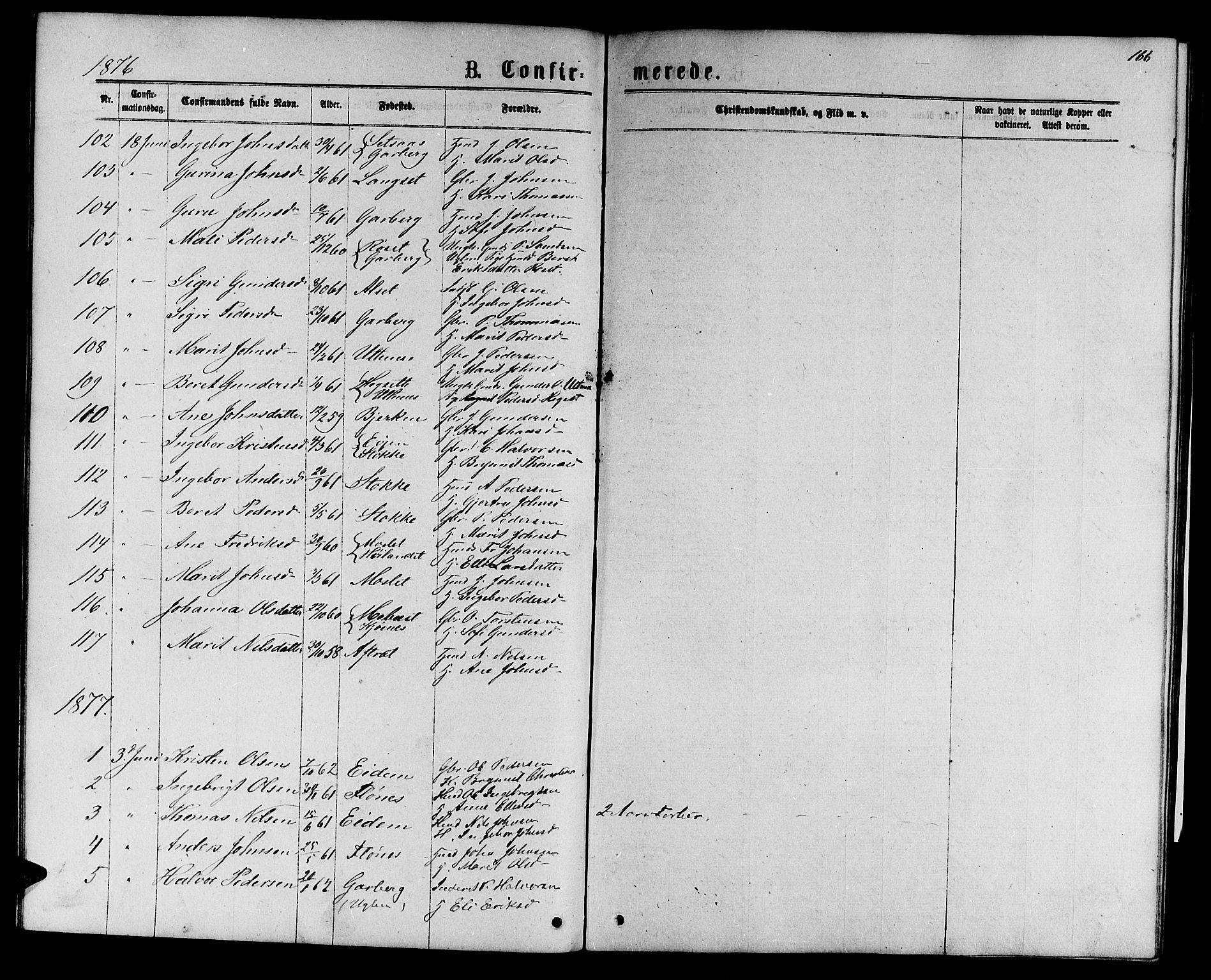 SAT, Ministerialprotokoller, klokkerbøker og fødselsregistre - Sør-Trøndelag, 695/L1156: Klokkerbok nr. 695C07, 1869-1888, s. 166