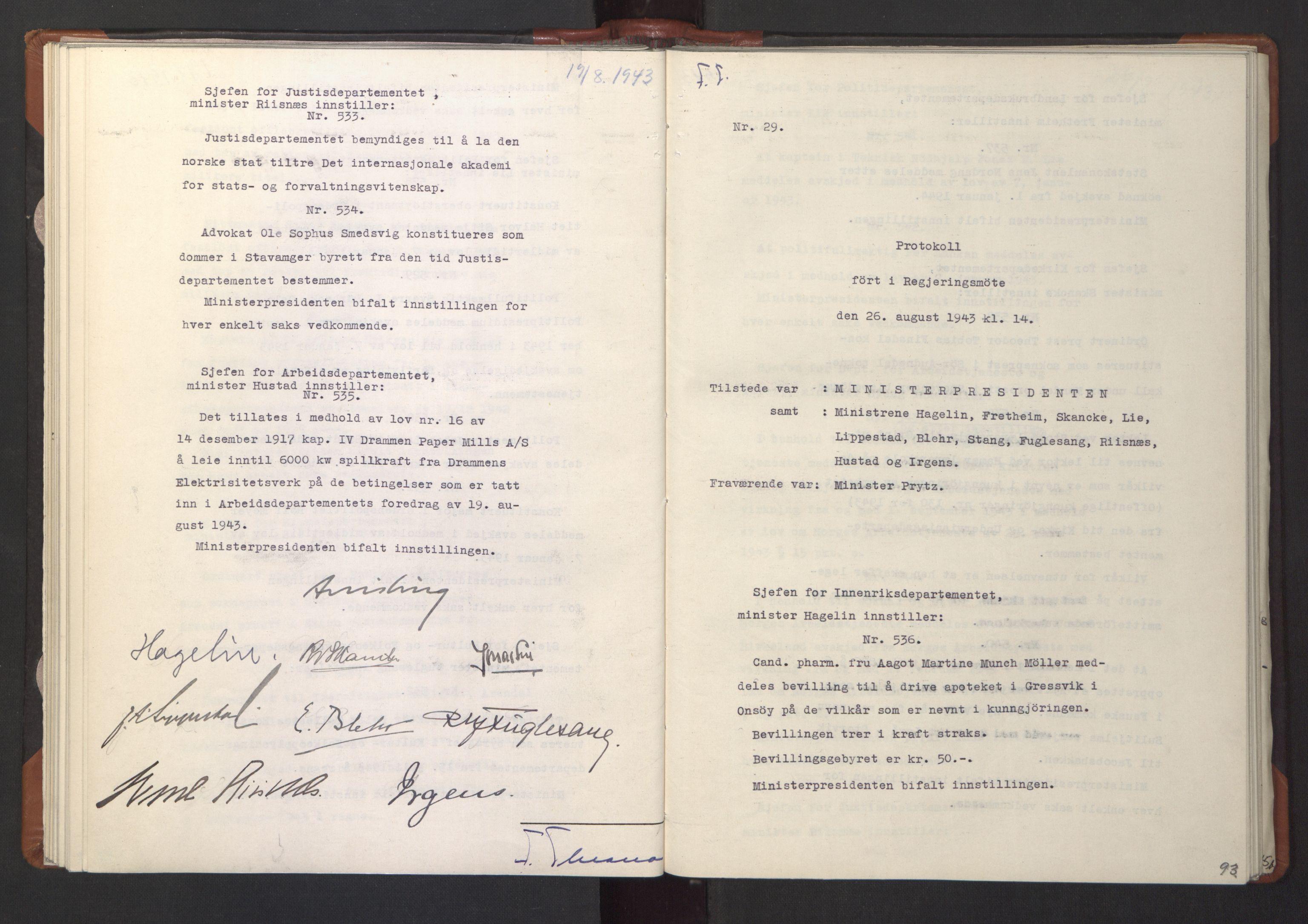 RA, NS-administrasjonen 1940-1945 (Statsrådsekretariatet, de kommisariske statsråder mm), D/Da/L0003: Vedtak (Beslutninger) nr. 1-746 og tillegg nr. 1-47 (RA. j.nr. 1394/1944, tilgangsnr. 8/1944, 1943, s. 92b-93a