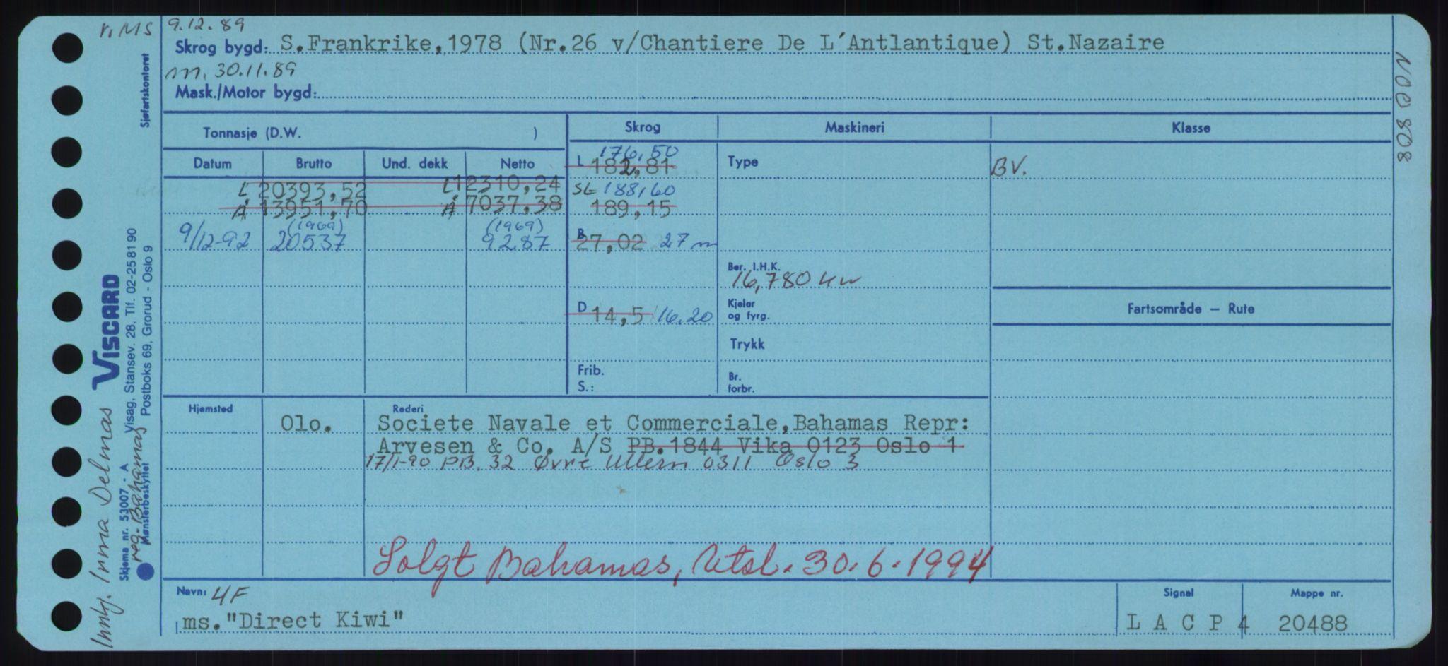 RA, Sjøfartsdirektoratet med forløpere, Skipsmålingen, H/Hd/L0008: Fartøy, C-D, s. 509