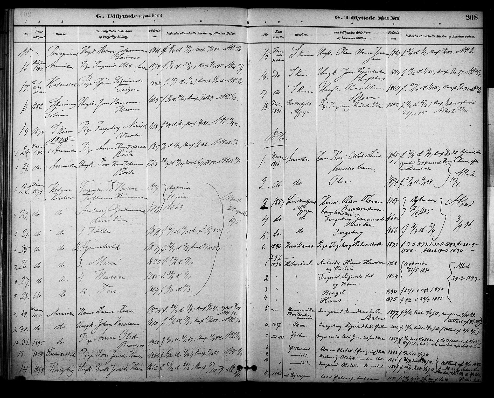 SAKO, Sauherad kirkebøker, F/Fa/L0009: Ministerialbok nr. I 9, 1887-1912, s. 208