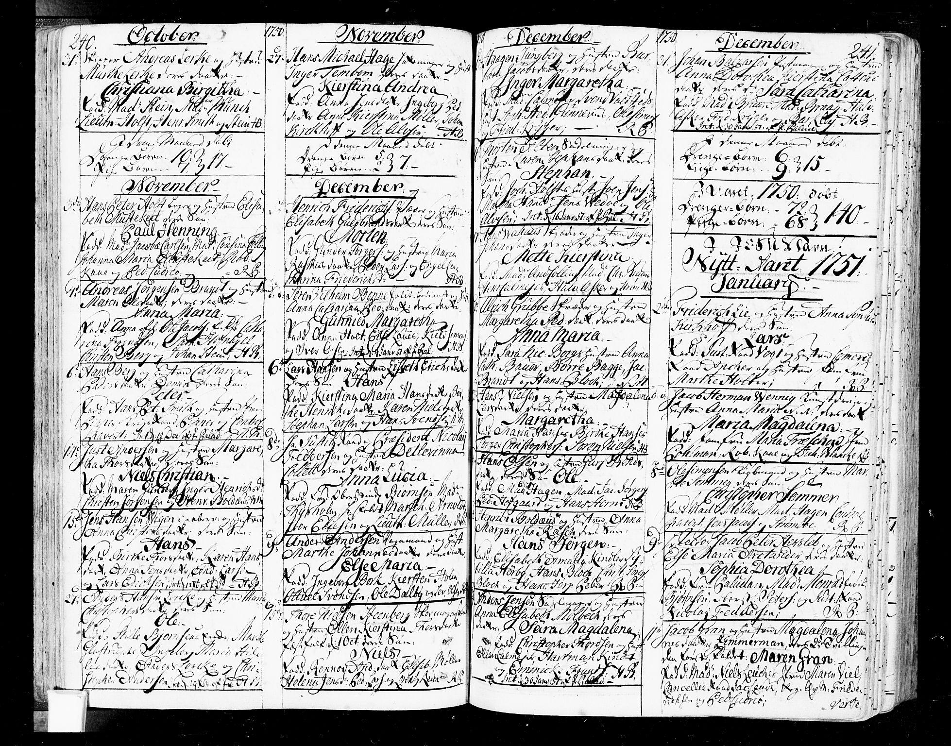 SAO, Oslo domkirke Kirkebøker, F/Fa/L0004: Ministerialbok nr. 4, 1743-1786, s. 240-241