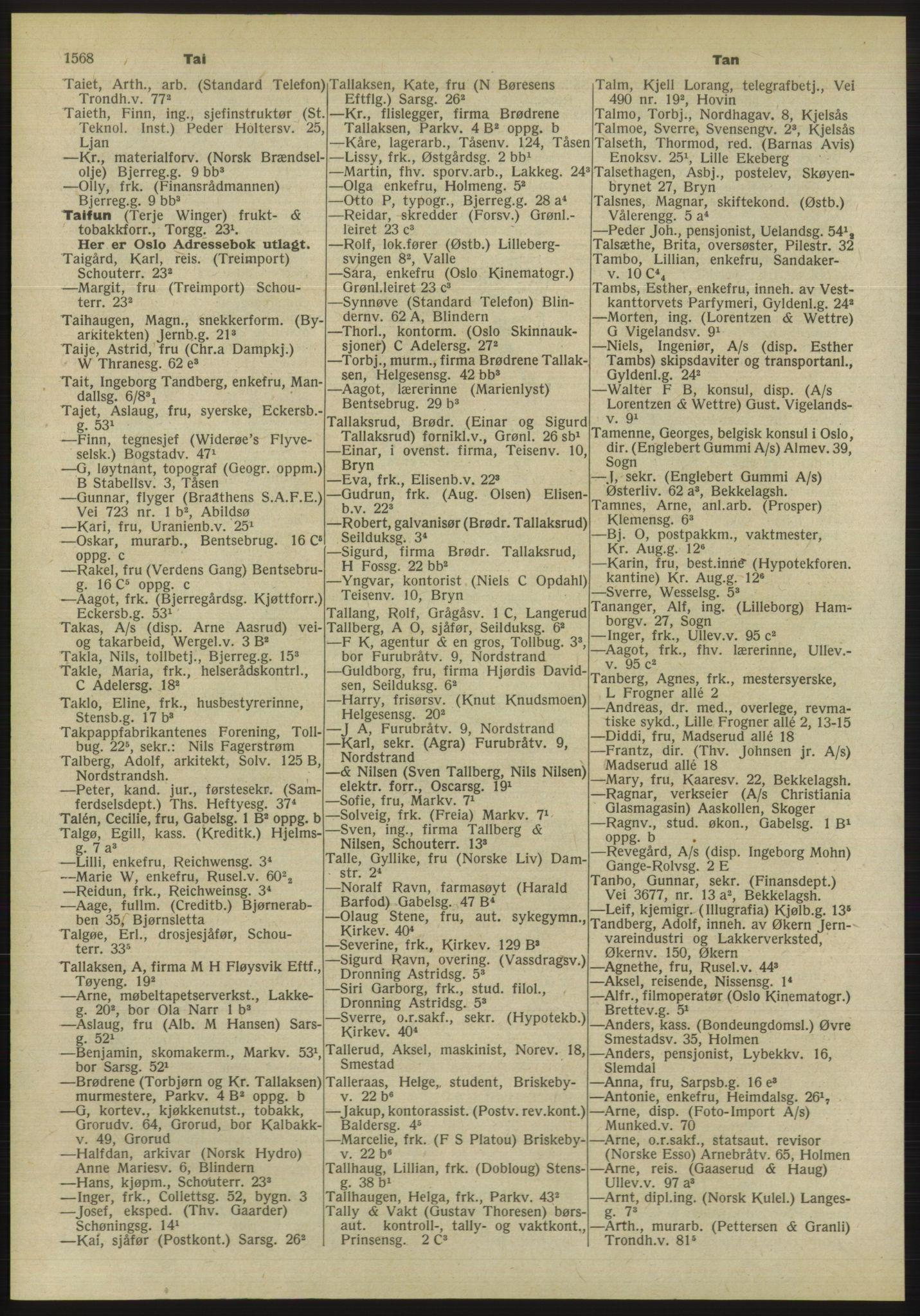 PUBL, Kristiania/Oslo adressebok, 1955, s. 1568