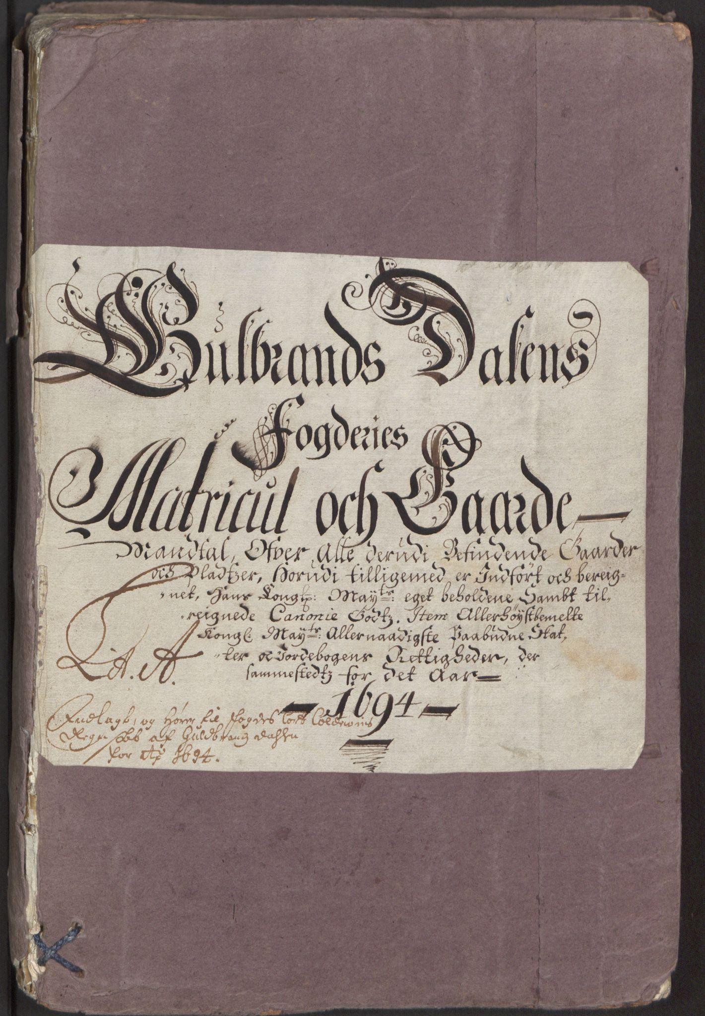 RA, Rentekammeret inntil 1814, Reviderte regnskaper, Fogderegnskap, R17/L1168: Fogderegnskap Gudbrandsdal, 1694, s. 22