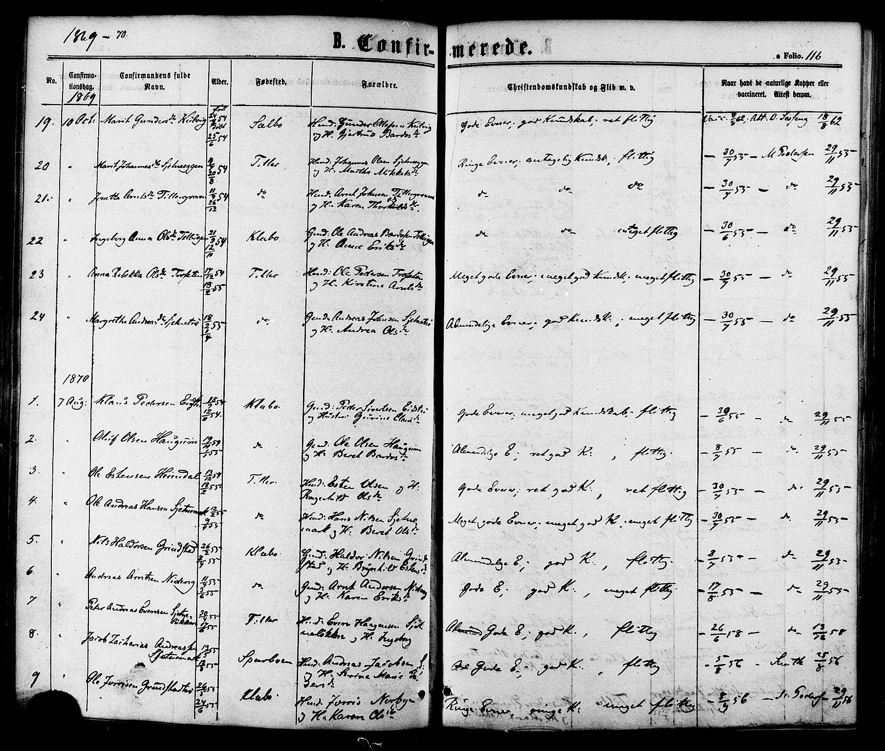 SAT, Ministerialprotokoller, klokkerbøker og fødselsregistre - Sør-Trøndelag, 618/L0442: Ministerialbok nr. 618A06 /1, 1863-1879, s. 116