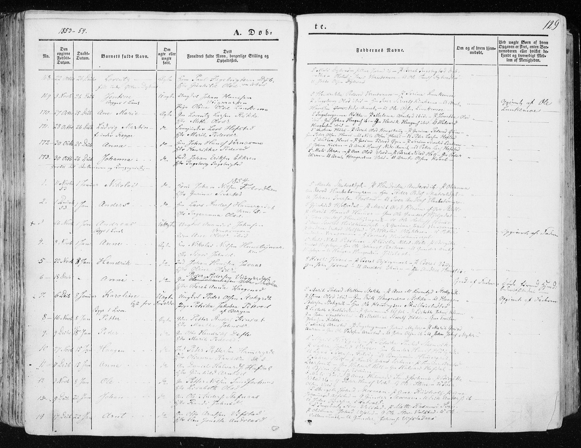 SAT, Ministerialprotokoller, klokkerbøker og fødselsregistre - Nord-Trøndelag, 709/L0074: Ministerialbok nr. 709A14, 1845-1858, s. 129