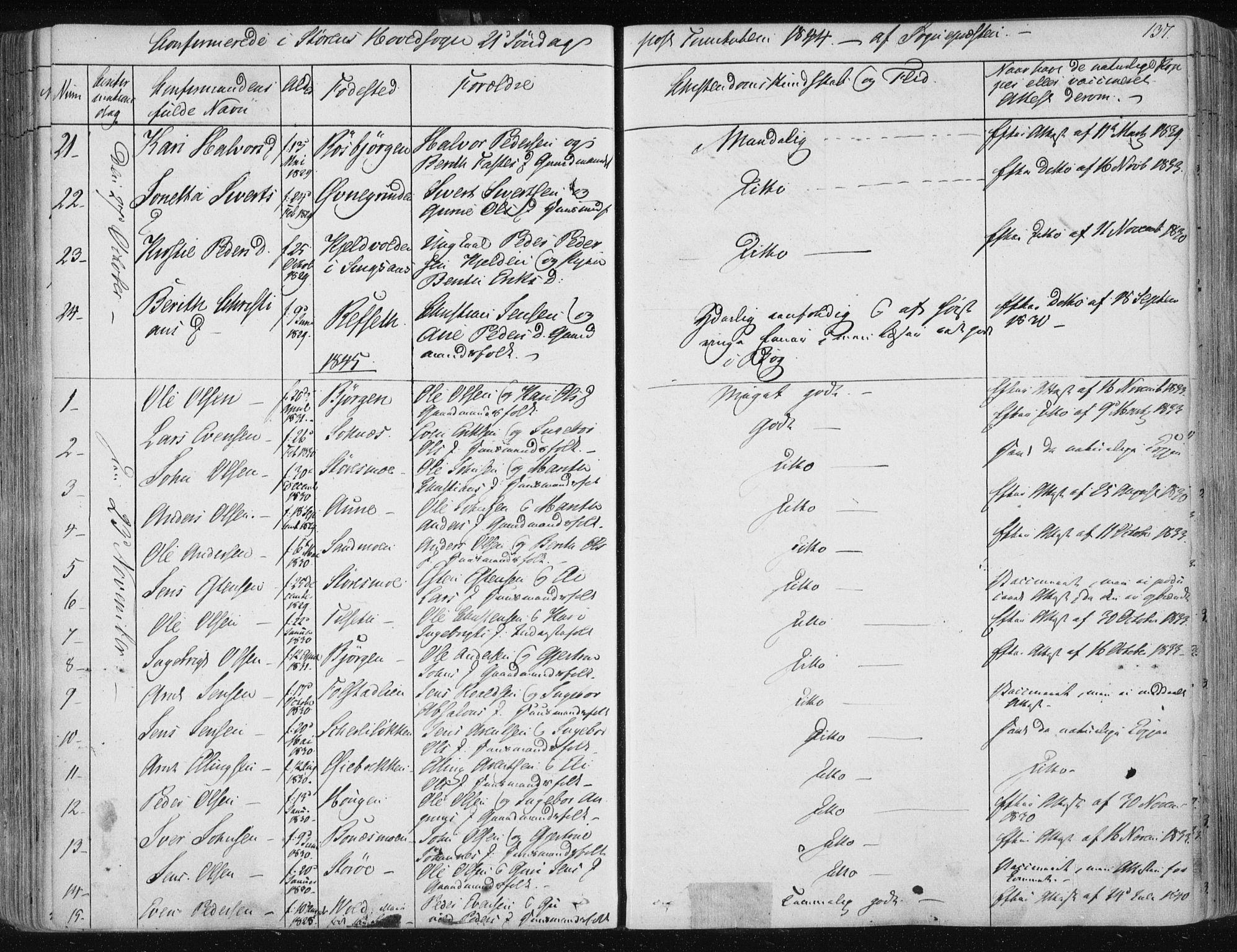 SAT, Ministerialprotokoller, klokkerbøker og fødselsregistre - Sør-Trøndelag, 687/L0997: Ministerialbok nr. 687A05 /1, 1843-1848, s. 137